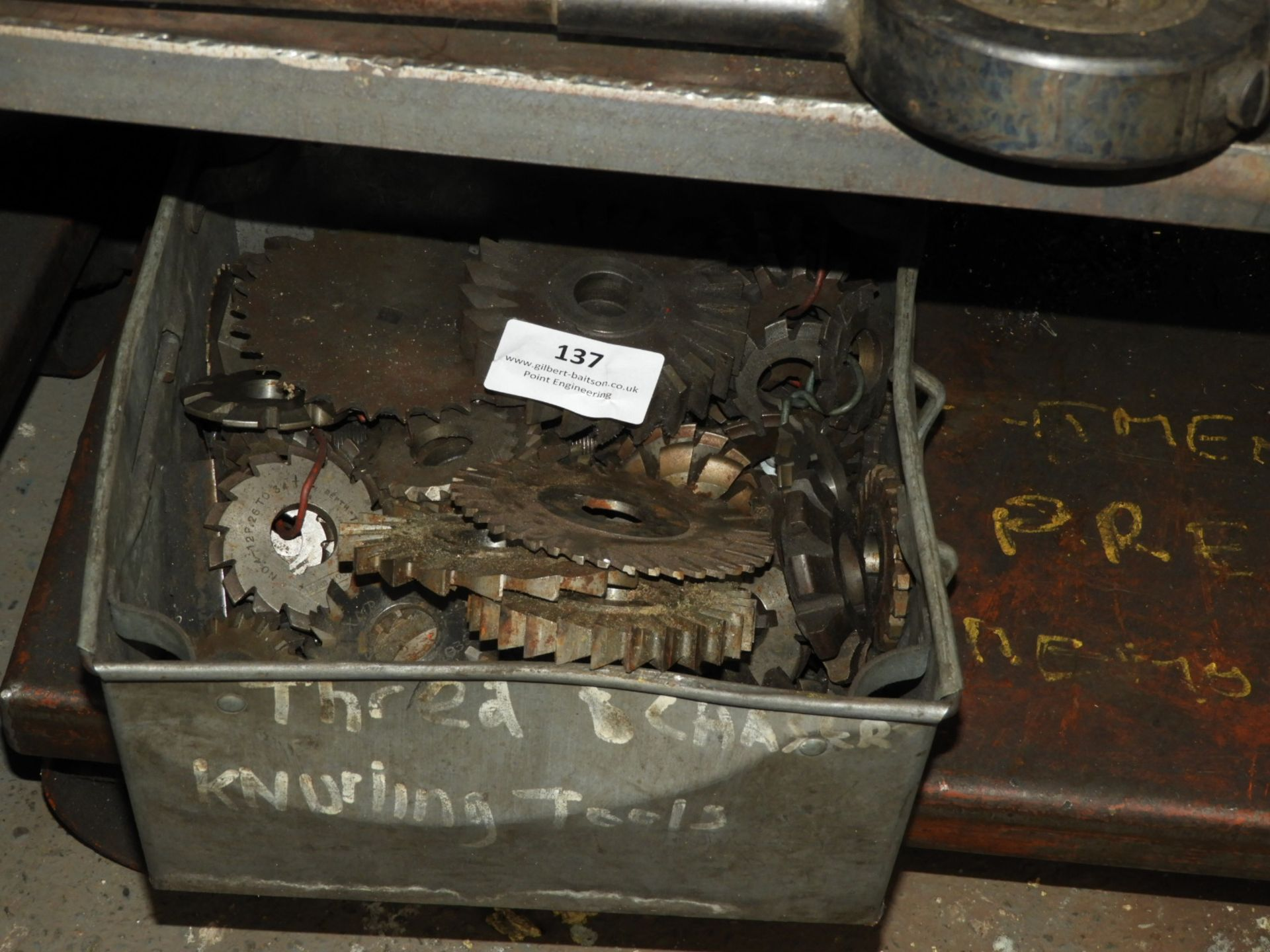 Lot 137 - *Box Containing Gear Cutters and Slitting Discs