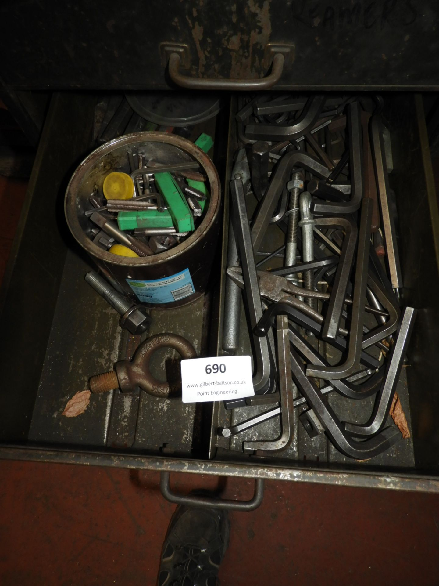 Lot 690 - *Contents of Drawer; Assorted Allen Keys, Taps, Di