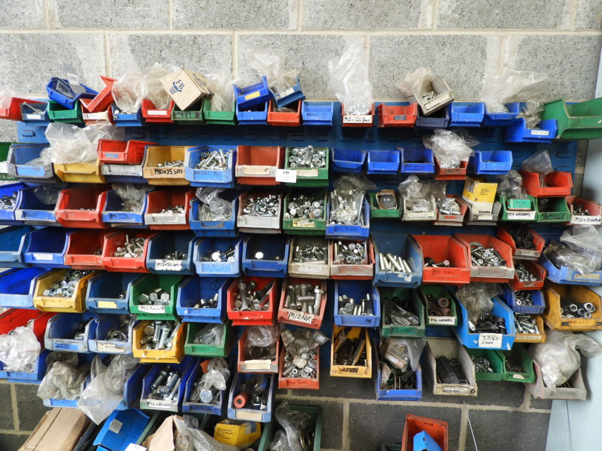 Lot 449 - *Set of Wall Mounted Plastic Storage Boxes Contain