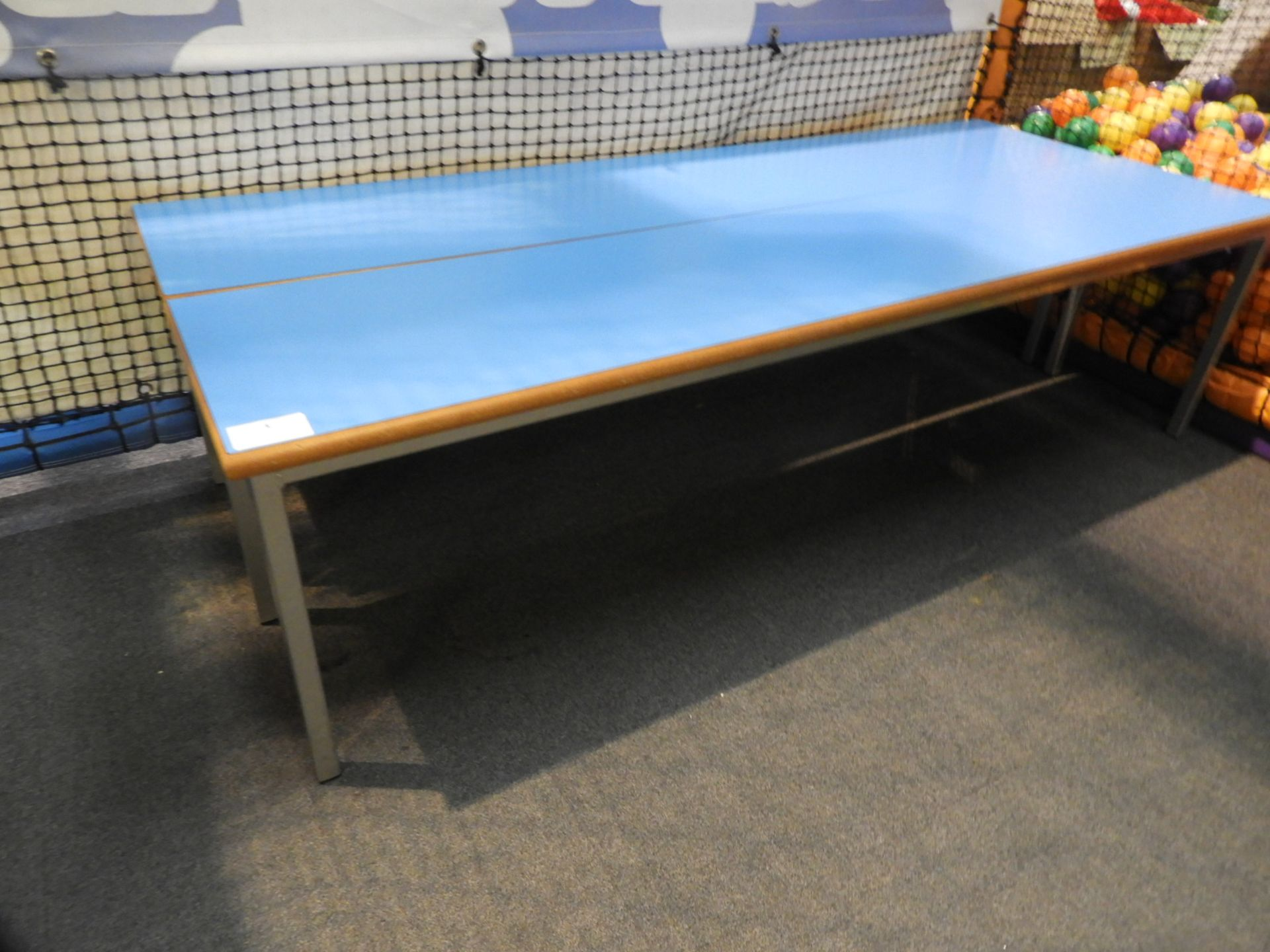 Lot 3 - *Pair of Steel Frame Benches with Pale Blue Seats