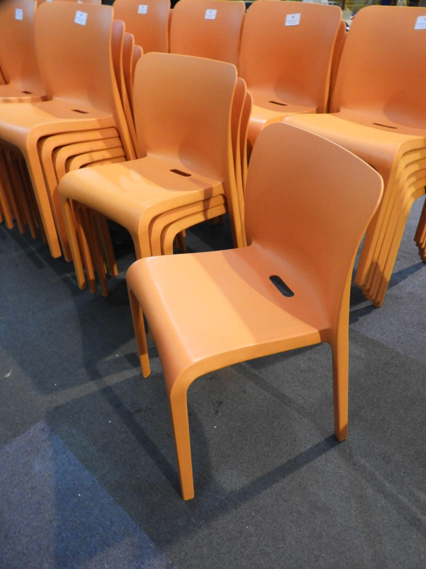 Lot 28 - *6 Pop by Origin Stackable Orange Chairs