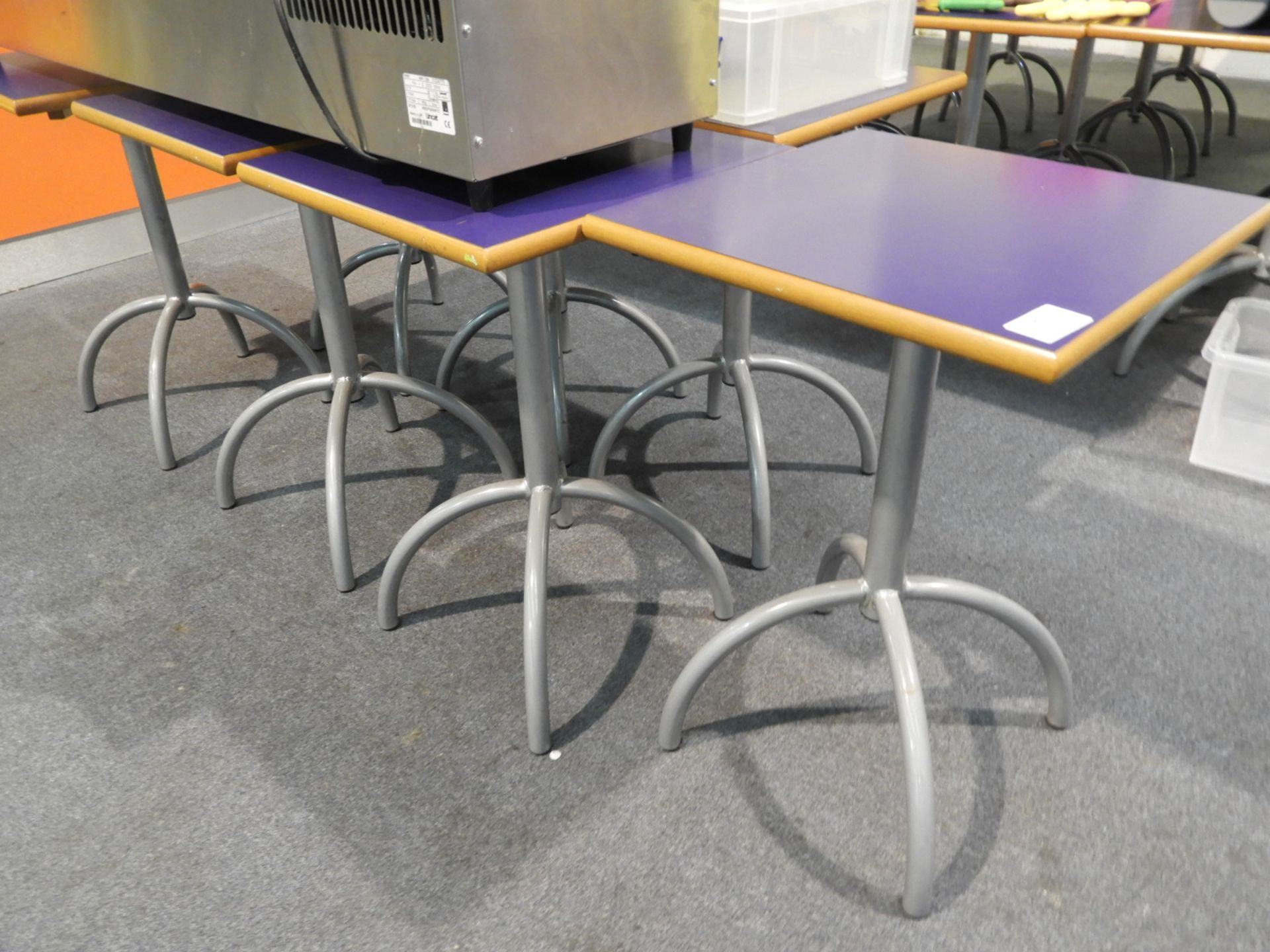 Lot 27 - *7x 50 by 50 Square Cafe Style Tables on Tubular P