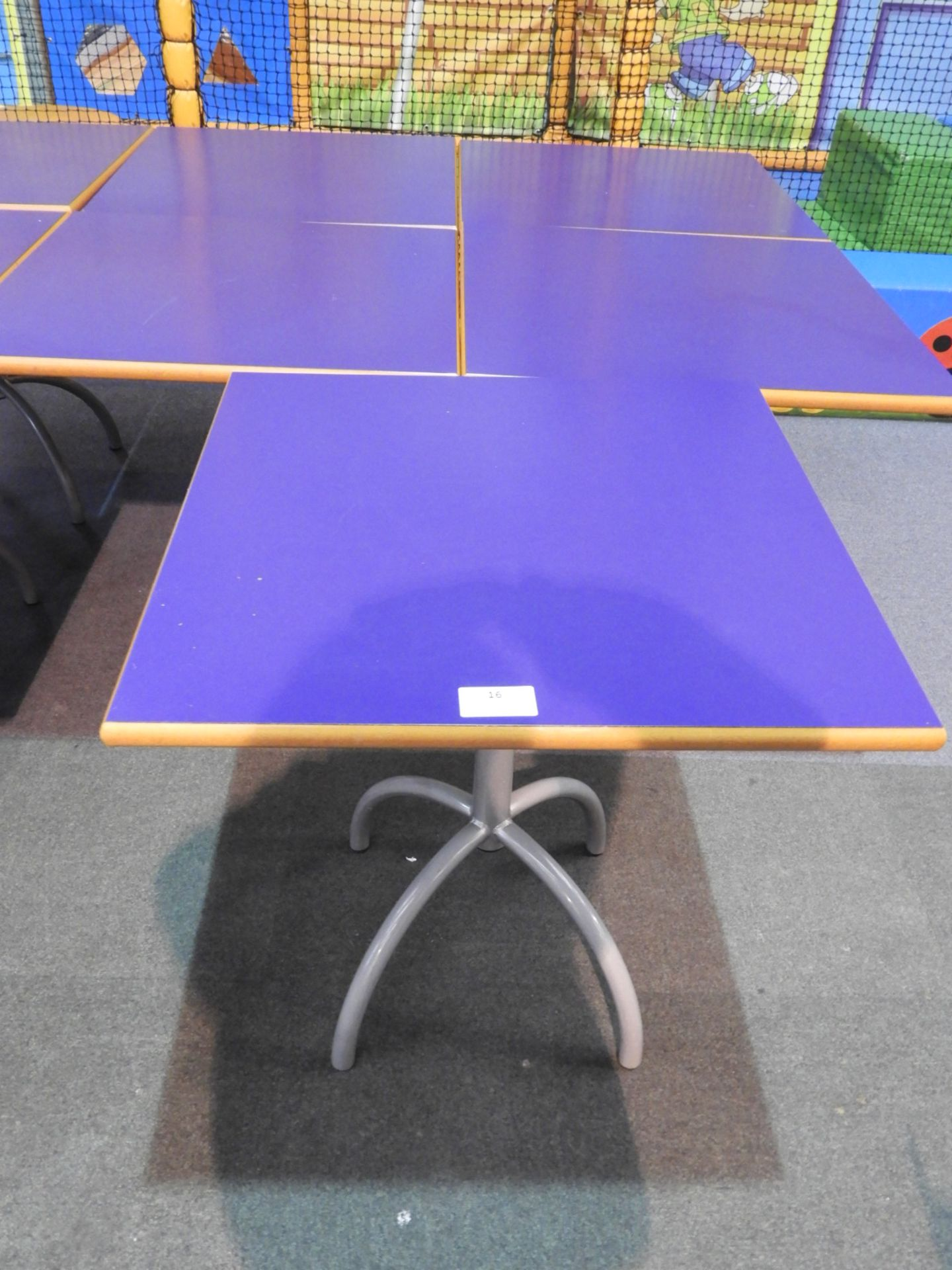 Lot 16 - *5x 70 by 70 Cafe Style Dining Tables on Tubular P