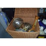 Lot 270 - Wicker Basket Containing 2 Brass Lamps & Barometer