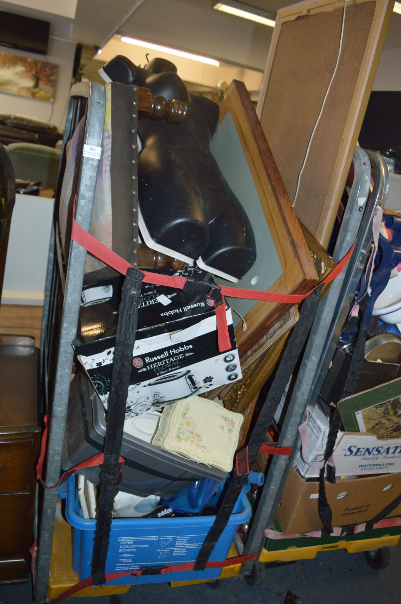 Lot 492 - Cage of MIscellaneous Items Including Pictures and