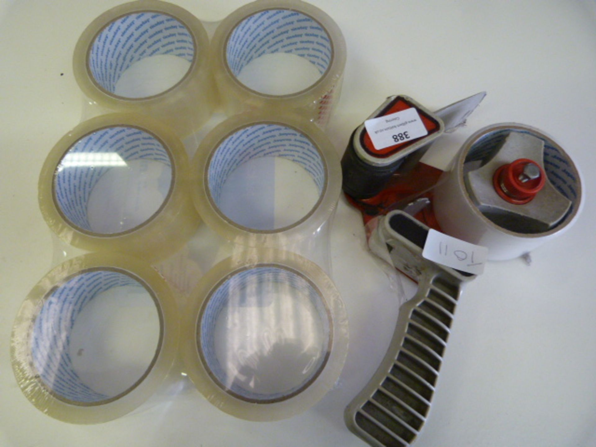 Lot 388 - Sellotape Dispenser and Six Rolls of Tape