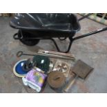 Metal Wheelbarrow and Contents