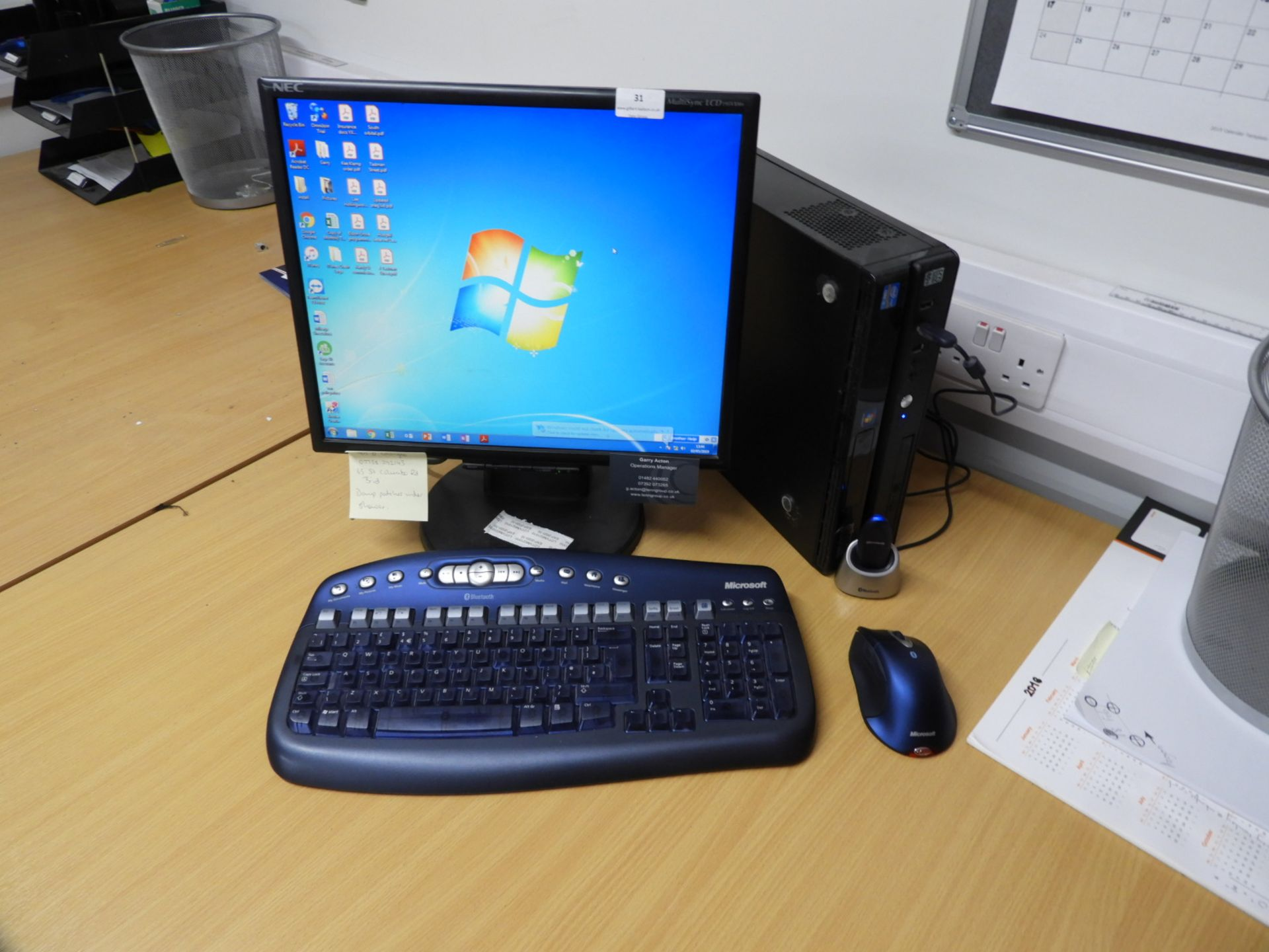Lot 31 - *Stone Desktop PC with Windows 7 OS, Monitor, Cord