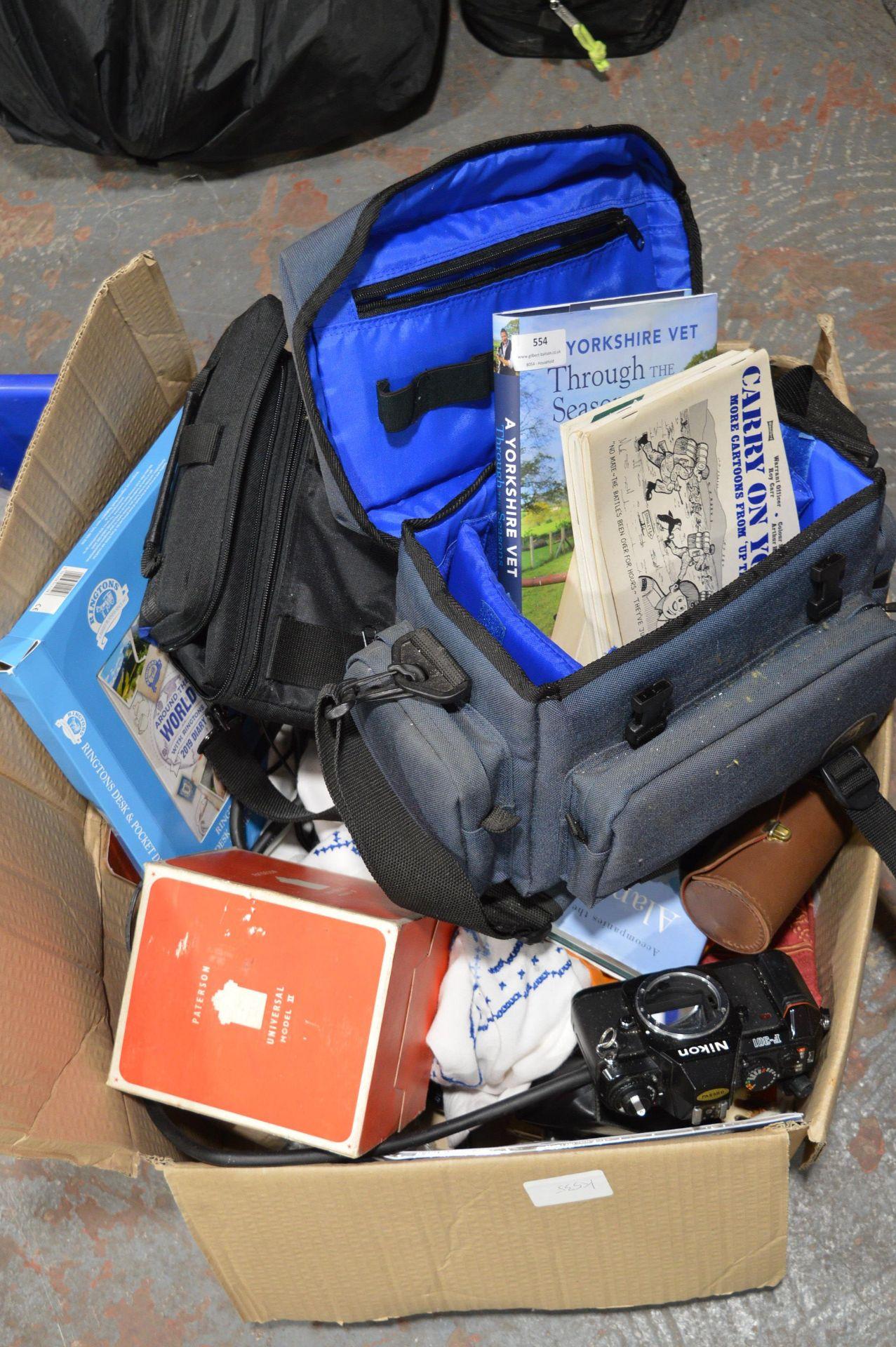 Lot 554 - Box Containing Assorted Camera Bags, Binoculars, N