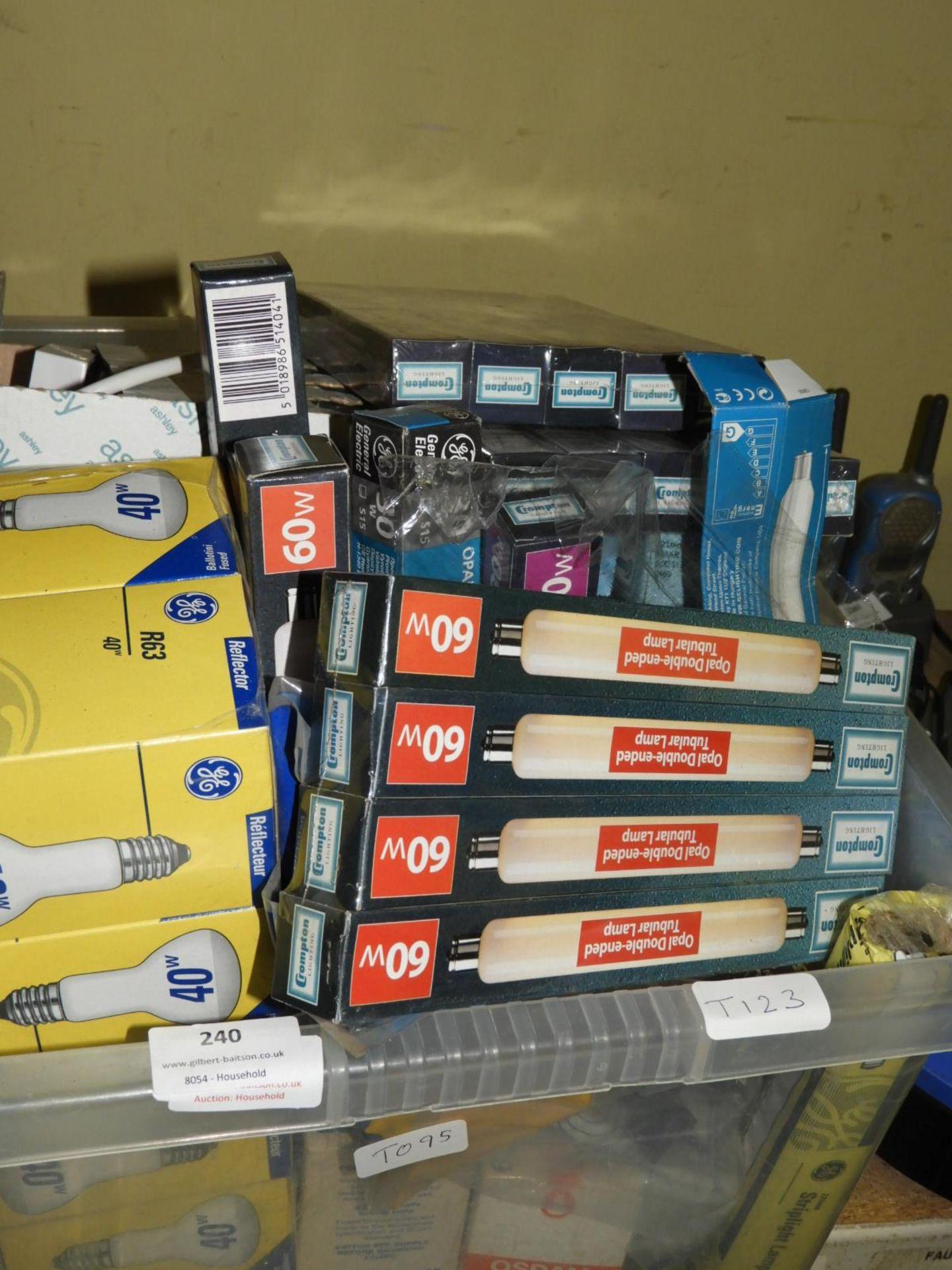 Lot 240 - *Box Containing Assorted Filament Bulbs, etc.