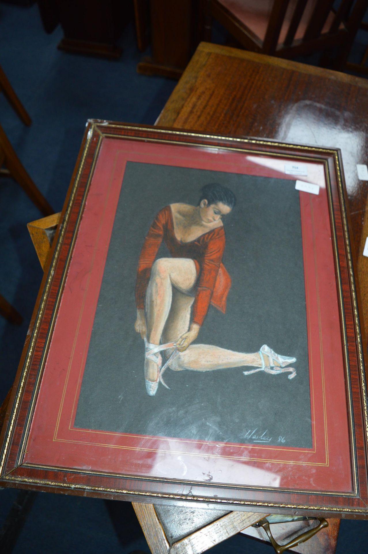 Lot 754 - Pastel Sketch of a Ballet Dancer