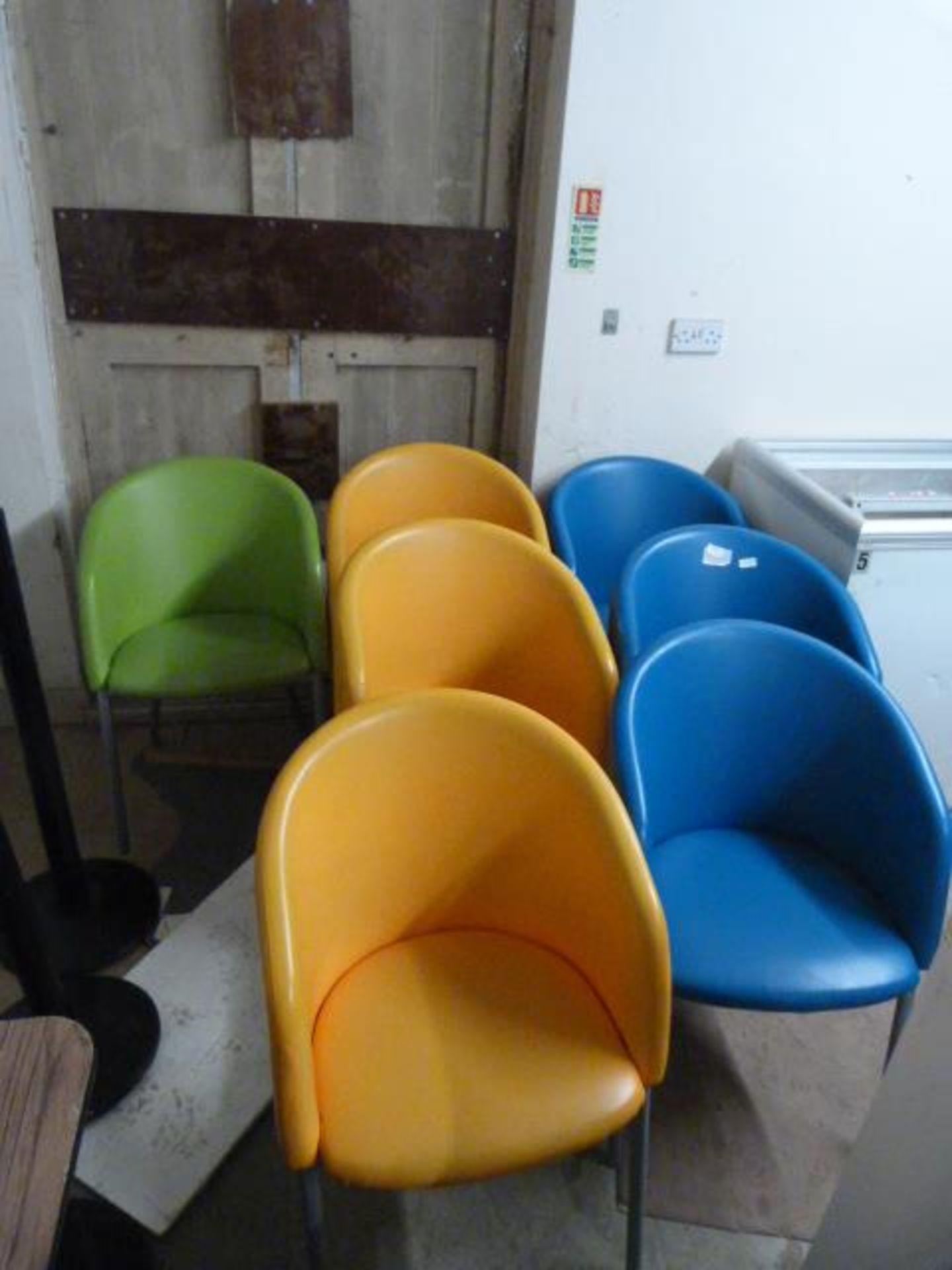 Lot 29 - Seven Metal Framed Upholstered Bucket Chairs