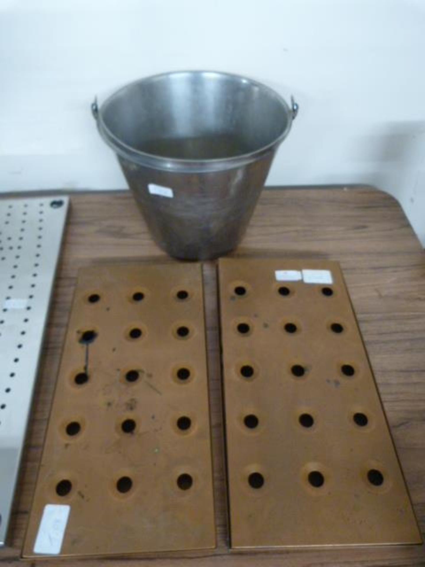 Lot 24 - Stainless Steel Bucket and Two Copper Drip Trays