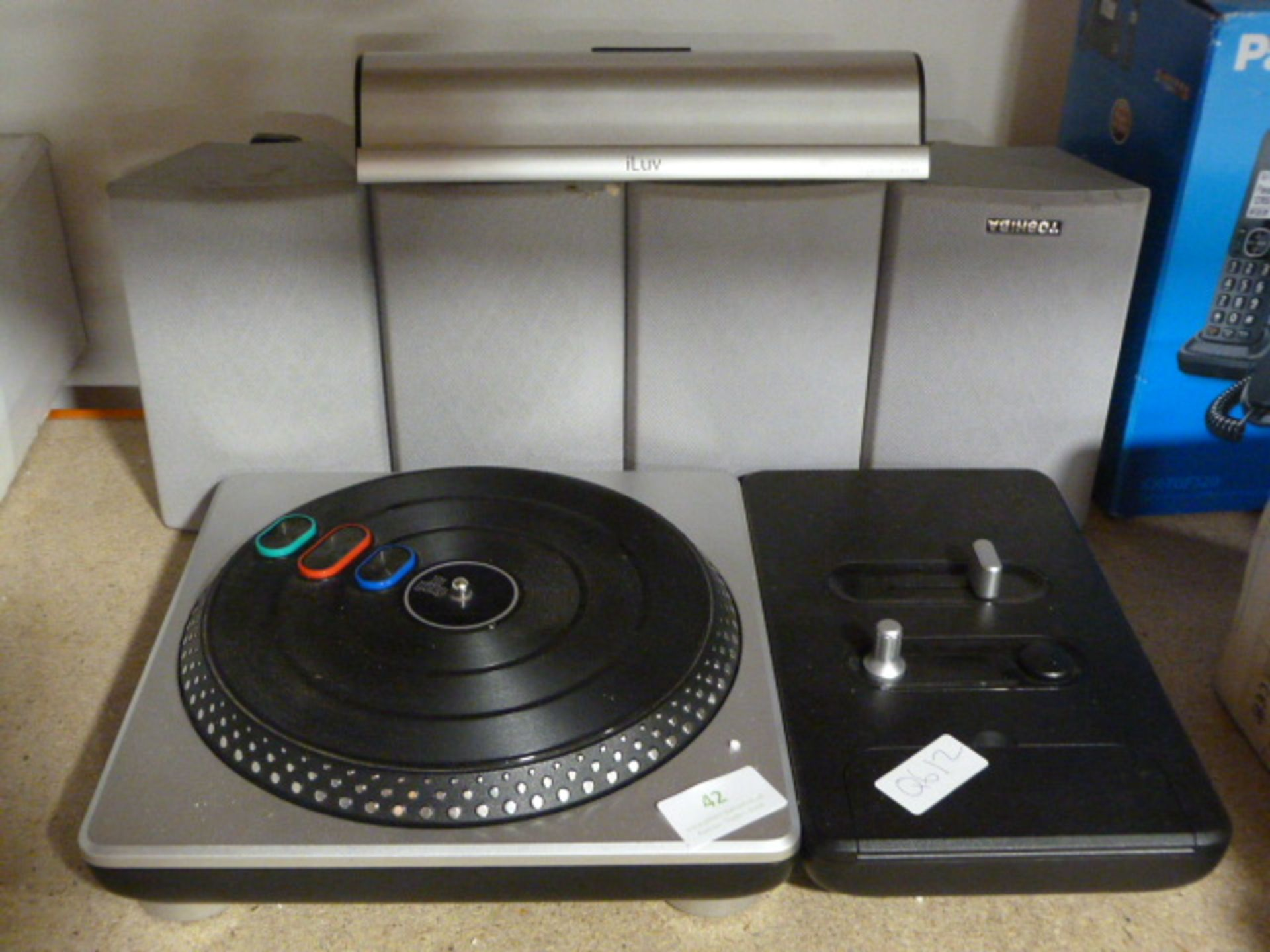 Lot 42 - Turntable, Four Toshiba Speakers, and a Iluv Bluet