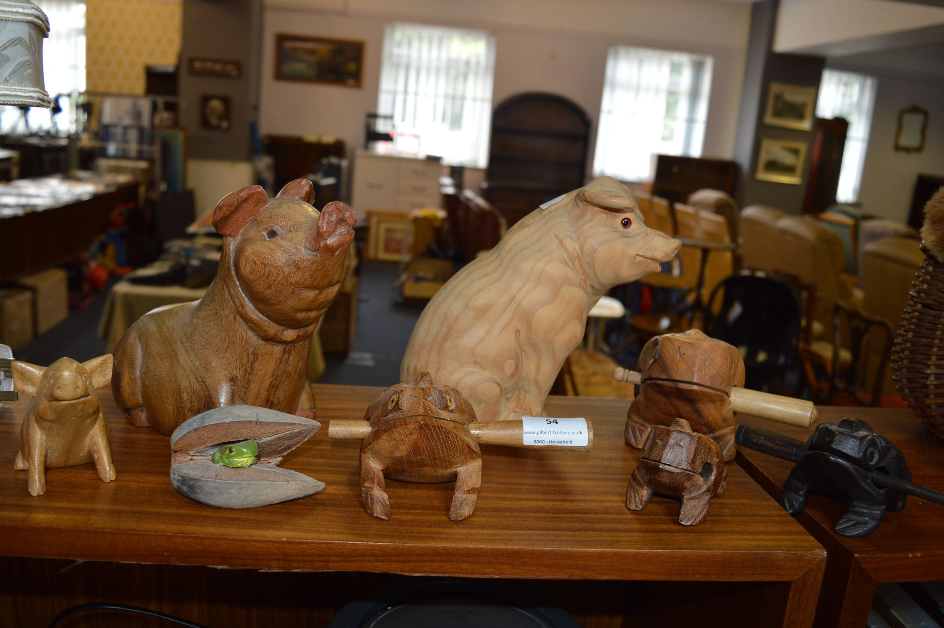 Lot 54 - Collection of Wooden Pigs and Frogs