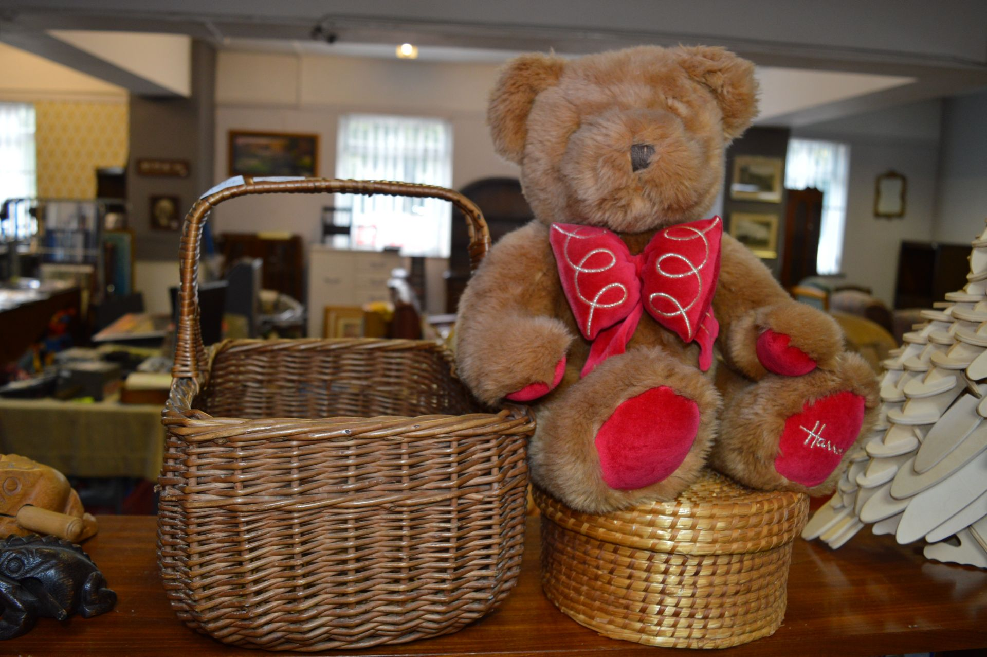 Lot 55 - Basket, Teddy Bear and a Sewing Box