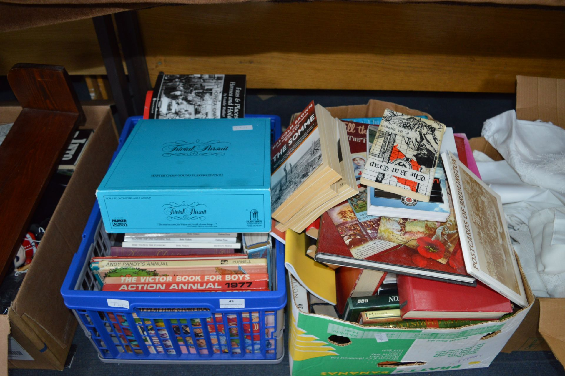 Lot 45 - Two Boxes of Books, Trivial Pursuit, etc.