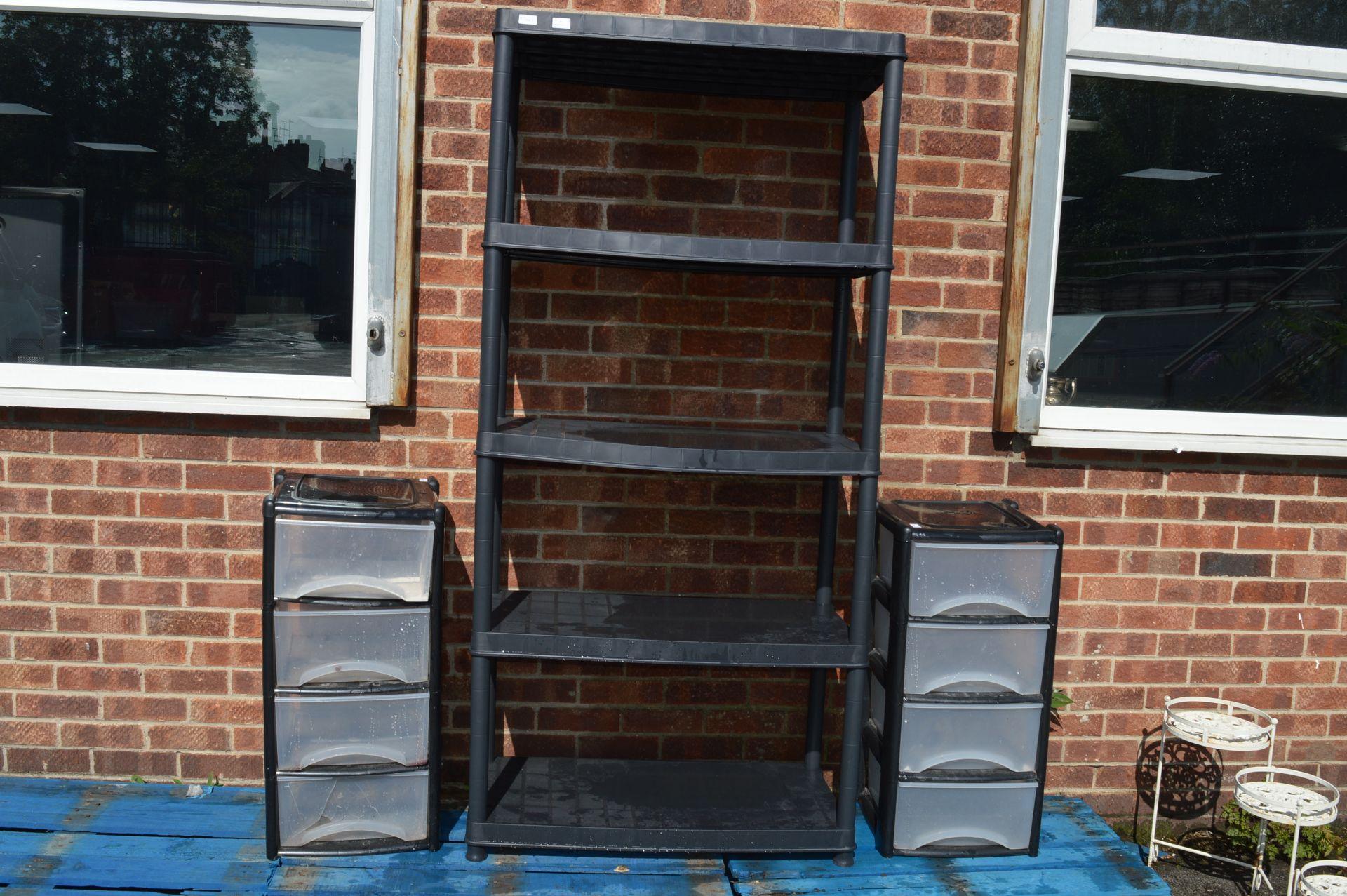 Lot 1 - *Black Plastic Shelving and Storage Drawers