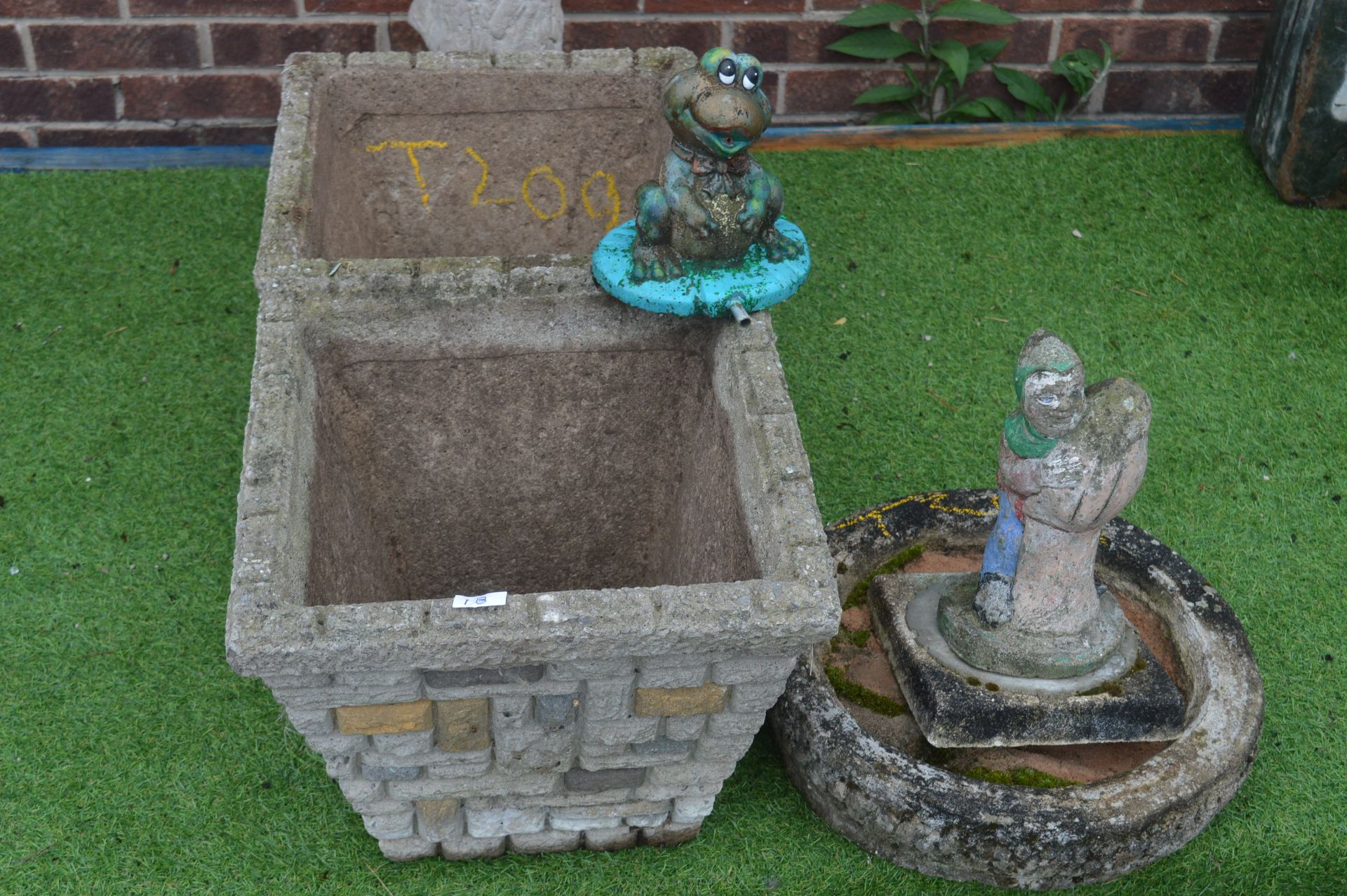 Lot 1b - Two Square Planters and Gnomes, etc.