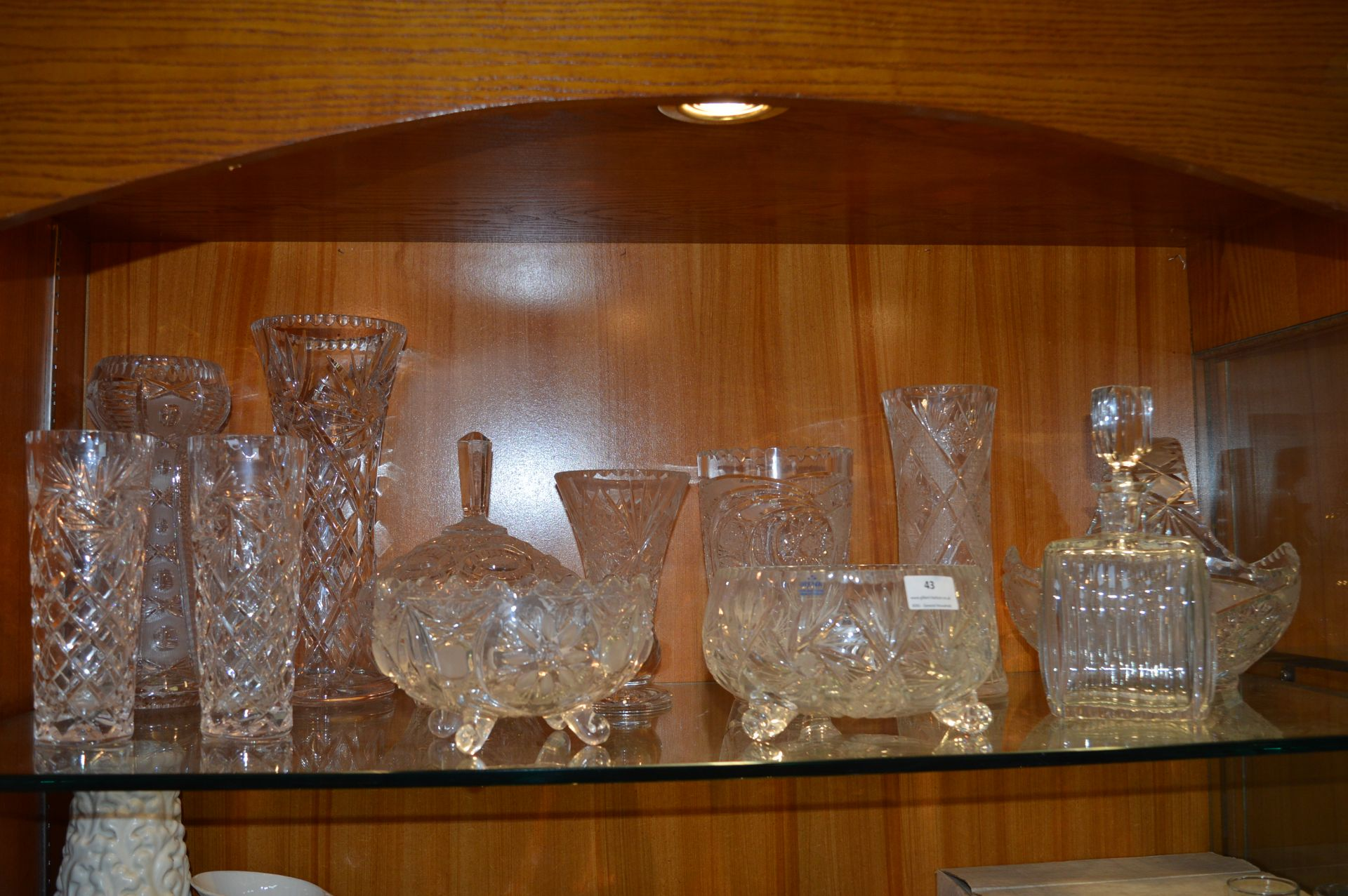 Lot 43 - Twelve Pieces of Cut Glass Including Vases, Bowls,