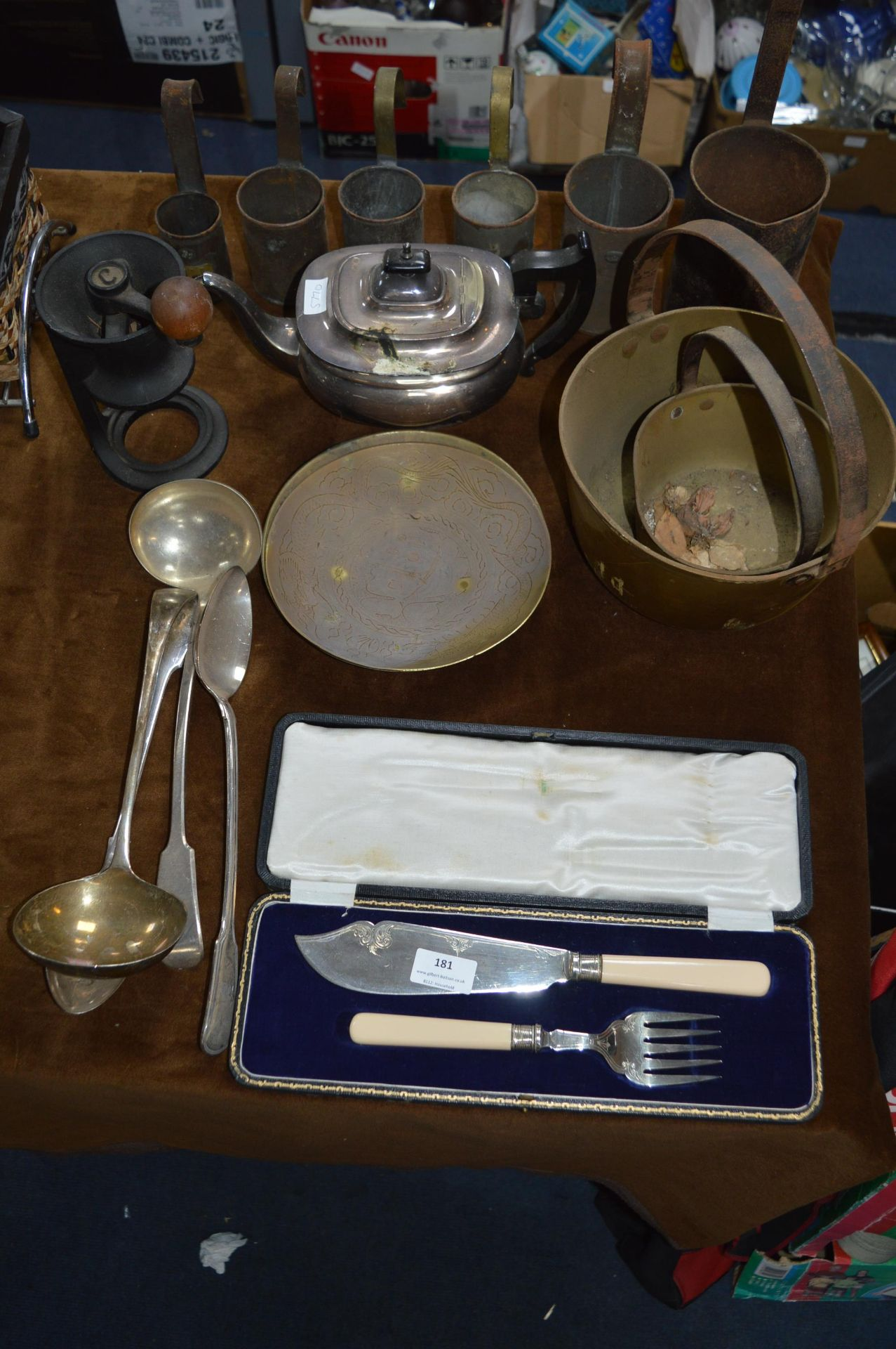 Lot 181 - Silver Plated Ladles, Copper Measuring Jugs and Br