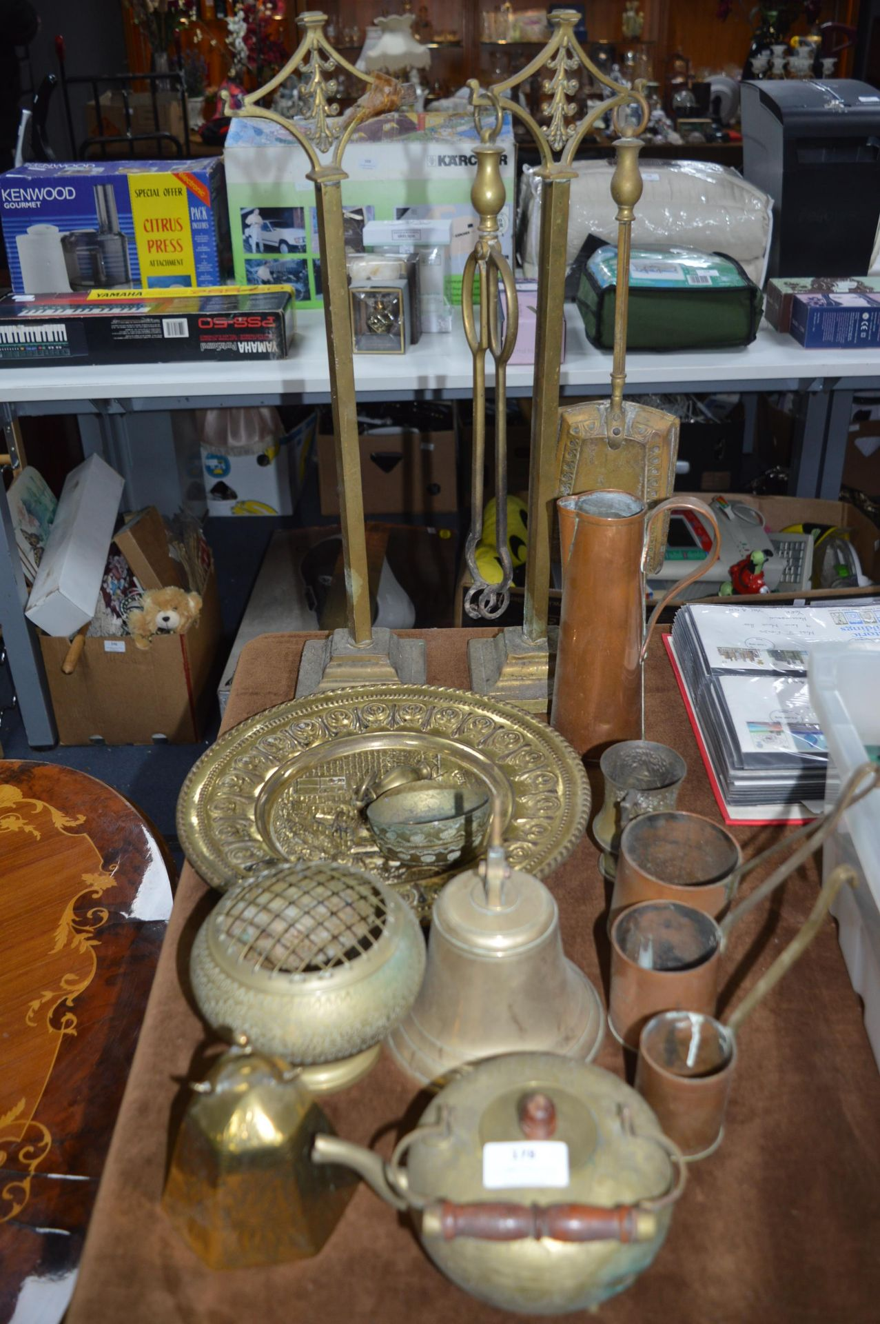 Lot 178 - Copper & Brass Ware Including Trays, Measuring Jug