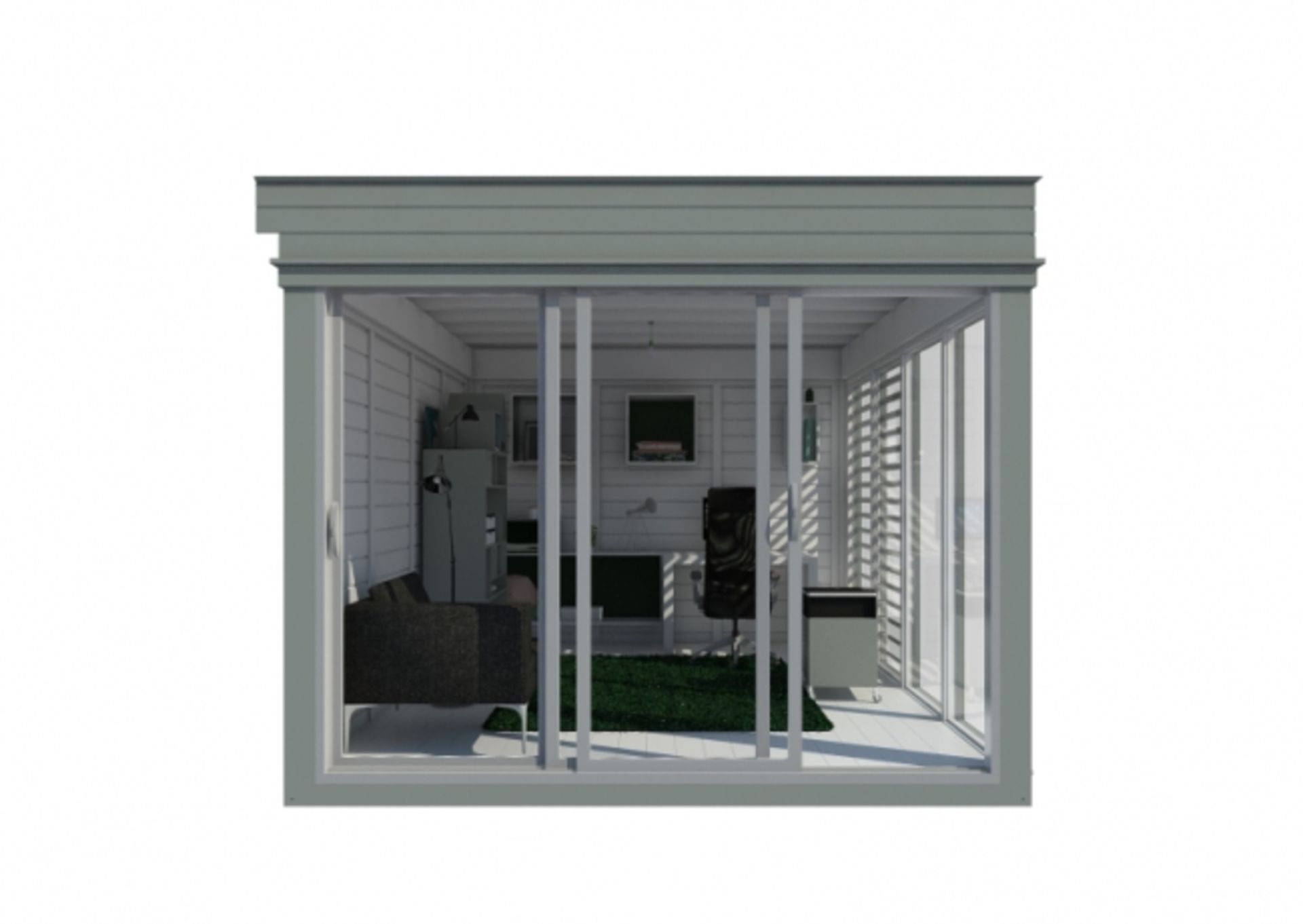 Lot 18000 - V Brand New Insulated 3m x 4m Garden Office Cube With Glass Sliding Doors - Sunscreen Sections -