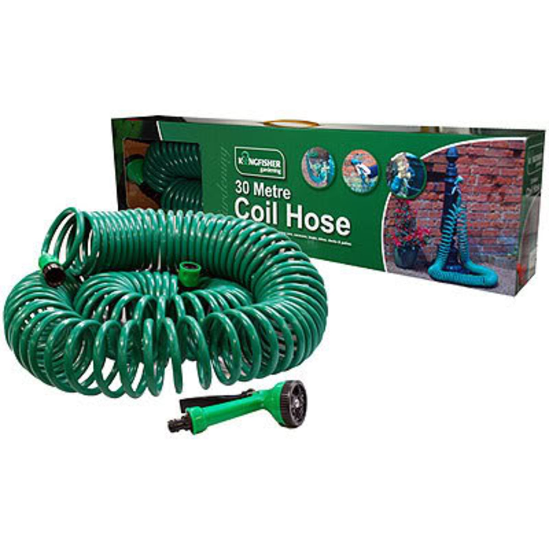Lot 18046 - V Brand New 30 Metre Coil Hose With Nozzle And Tap Connectors Etc