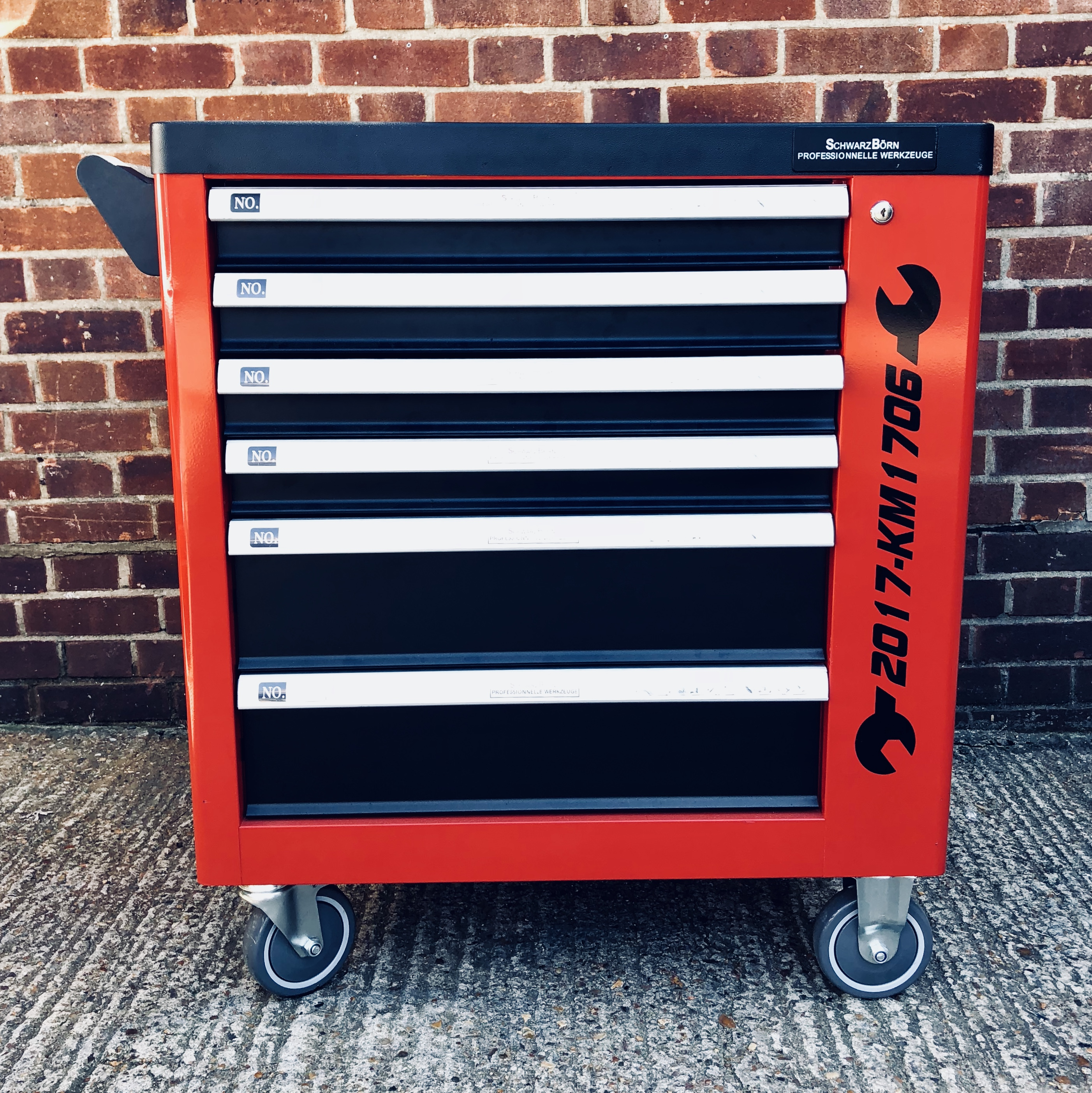 Lot 18053 - V Brand New Locking Garage Tool Cabinet with Six Drawers and Side Door on Lockable Casters -