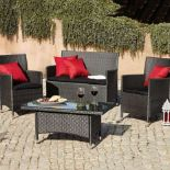 V Brand New Balinese Four Piece KD Conversation Set - Slate Grey Colour - Comes With Four Red