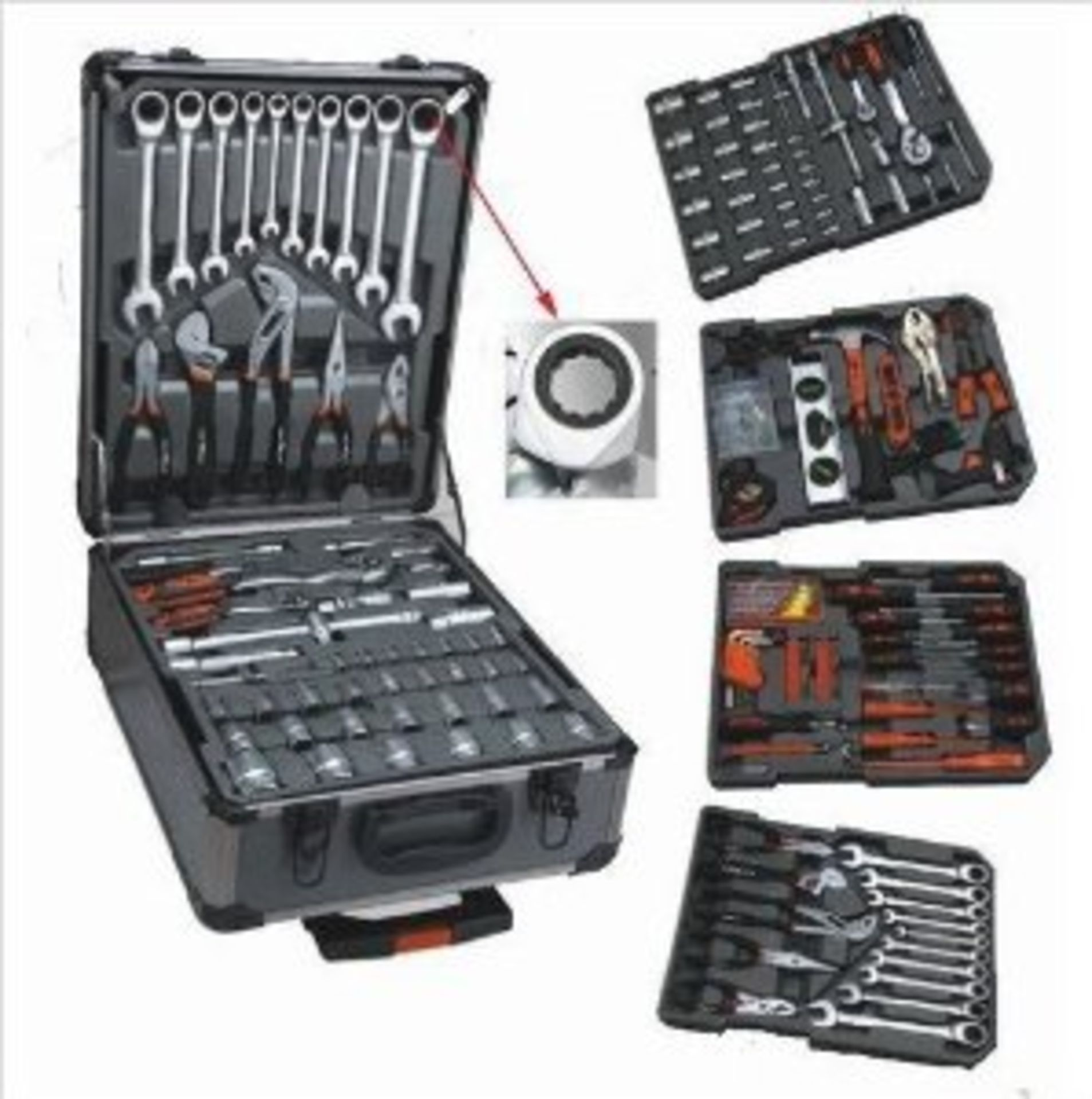 Lot 59044 - V Brand New 186pc (Minimum) Tool Kit In Wheeled Carry Case Includes Rachet Spanners SRP 549 Euros