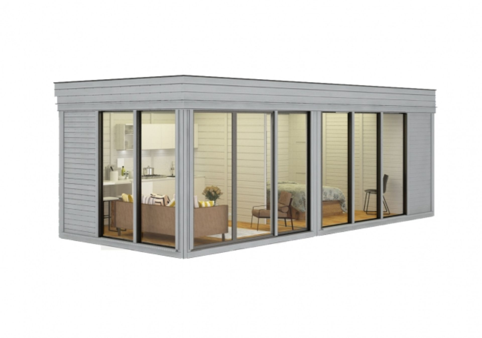 Lot 18045 - V Brand New Huge Luxury 3m x 7m Glamping Cube With Sliding Glass Doors - Kitchen Area - Bedroom -