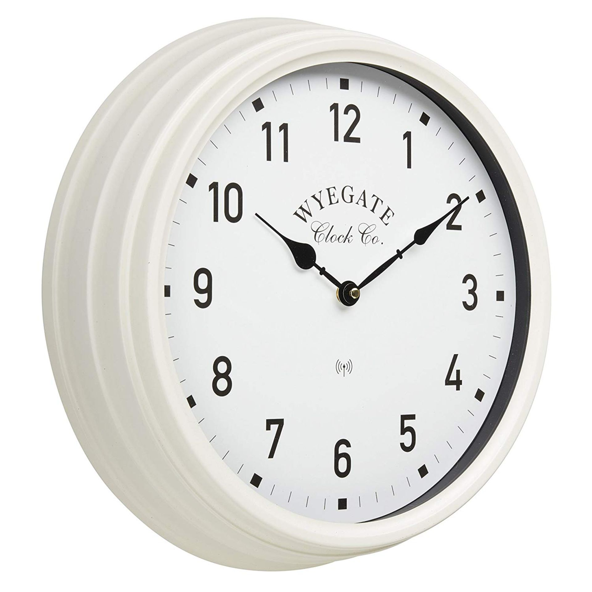 Lot 18100 - V Brand New Big Wyegate Garden/Indoor Clock (Radio Controlled) - 39cm - Cream - RRP £24.99 -