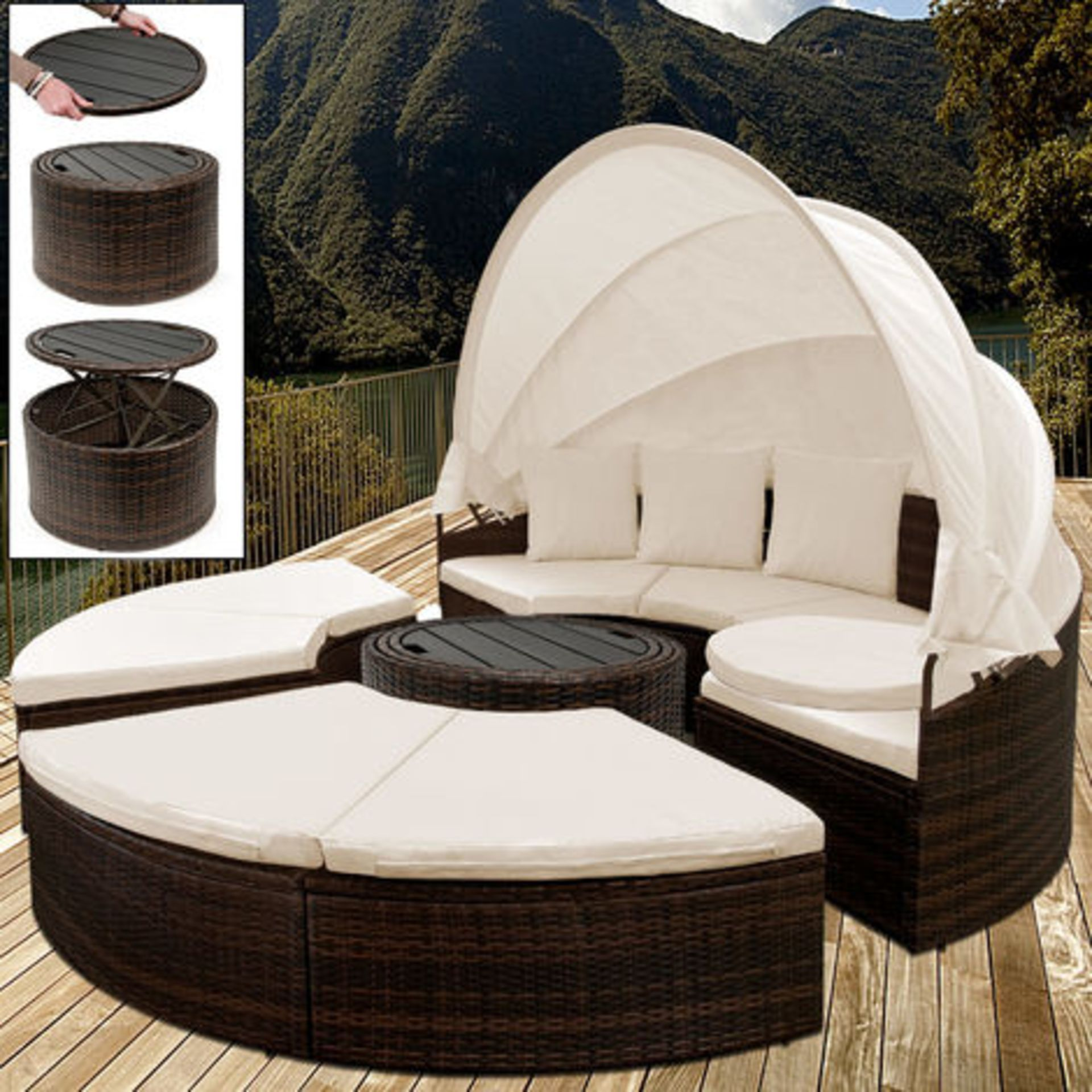 Lot 43004 - V Brand New Rattan Day Bed With Retractable Canopy & Telescopic Table - Includes Removable Water