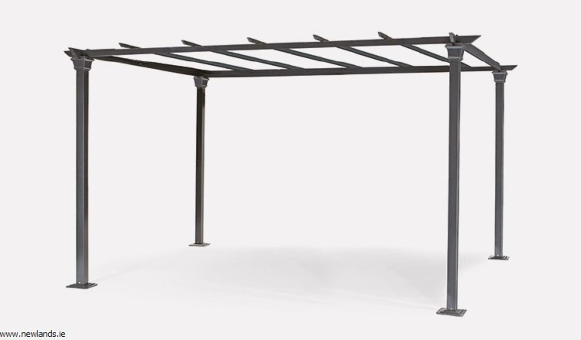 Lot 43005 - V Brand New 3m x 4m Aluminium Charcoal Grey Pergola With Zipped Cover - Sturdy Design And Folds Back