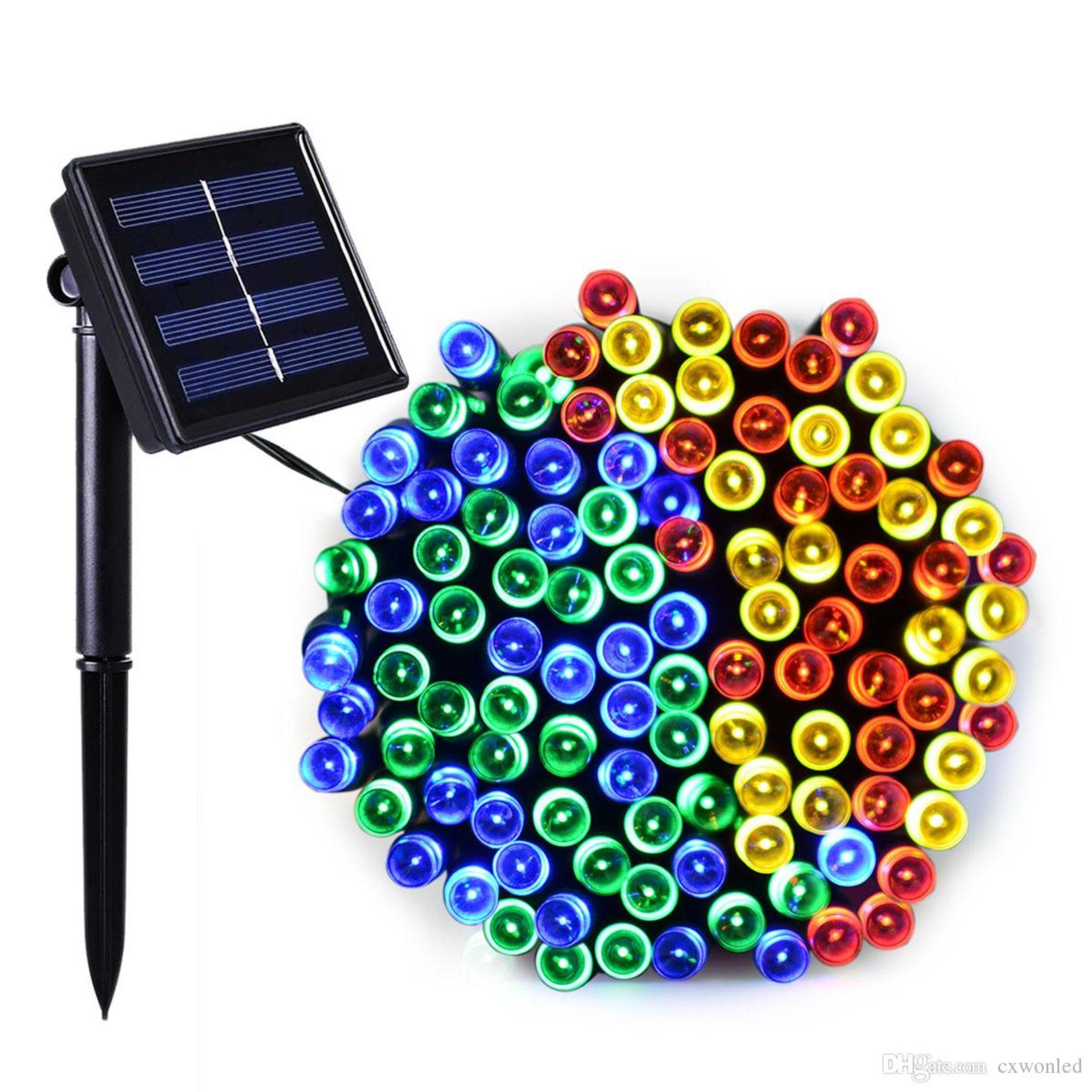 Lot 43024 - V Brand New 200 LED String Colour Light With Solar Panel