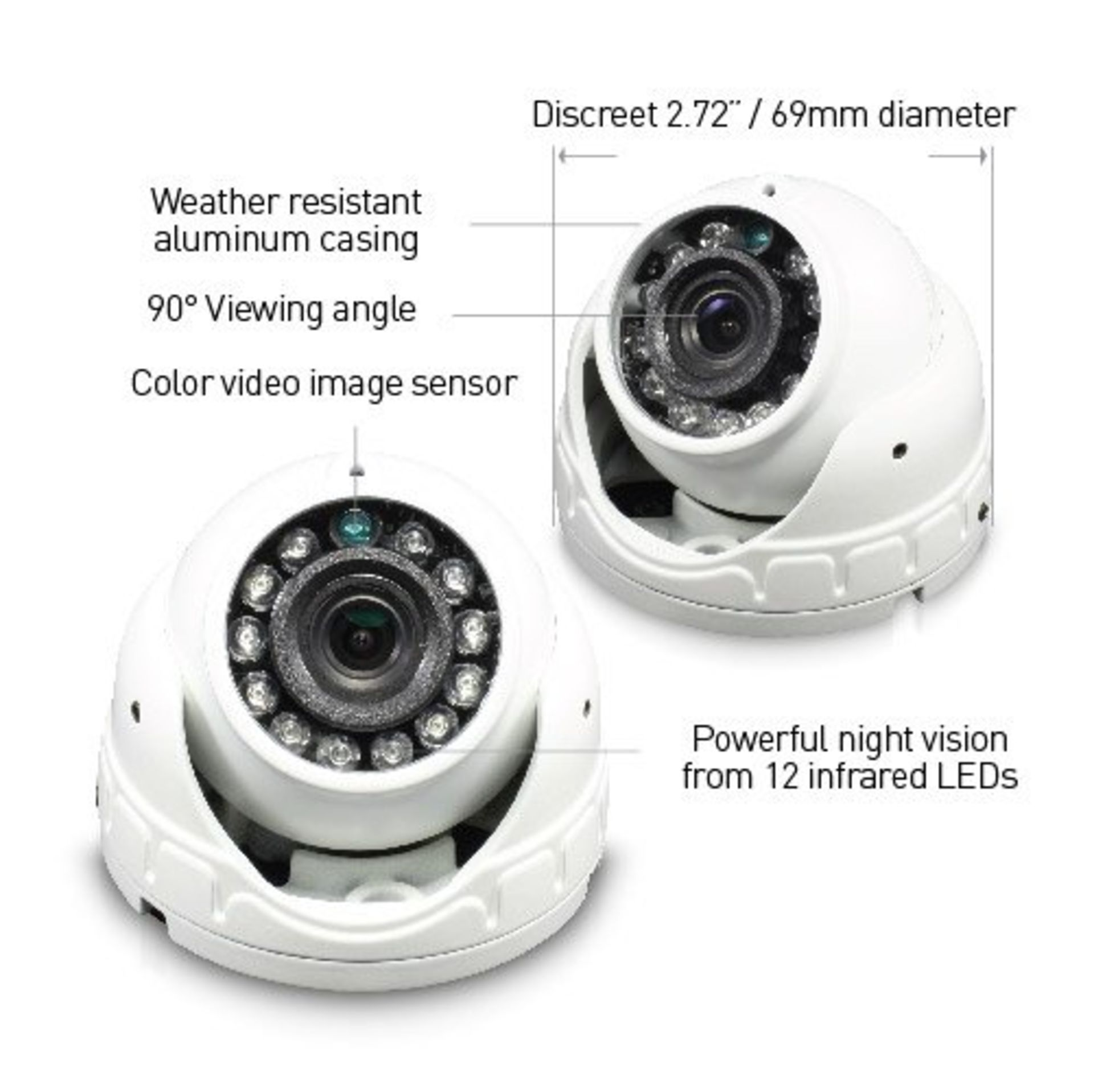 Lot 50016 - V Grade A/B Swann SW-1080FLD 1080P Dome Security Camera - Weather Resistant Casing- 90 degree