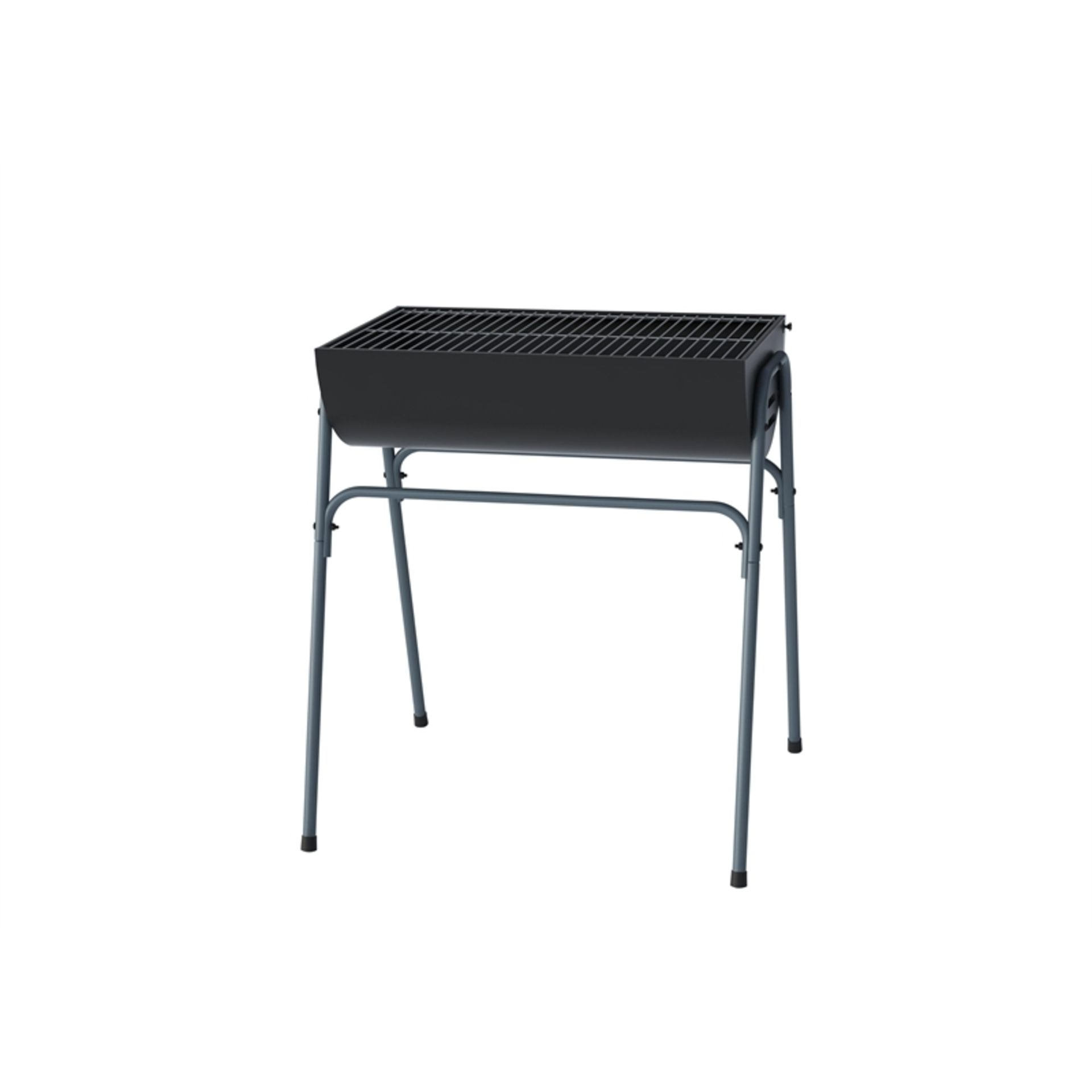 Lot 50025 - V Brand New Half Oil Drum Charcoal BBQ With Chrome Grill On Stand