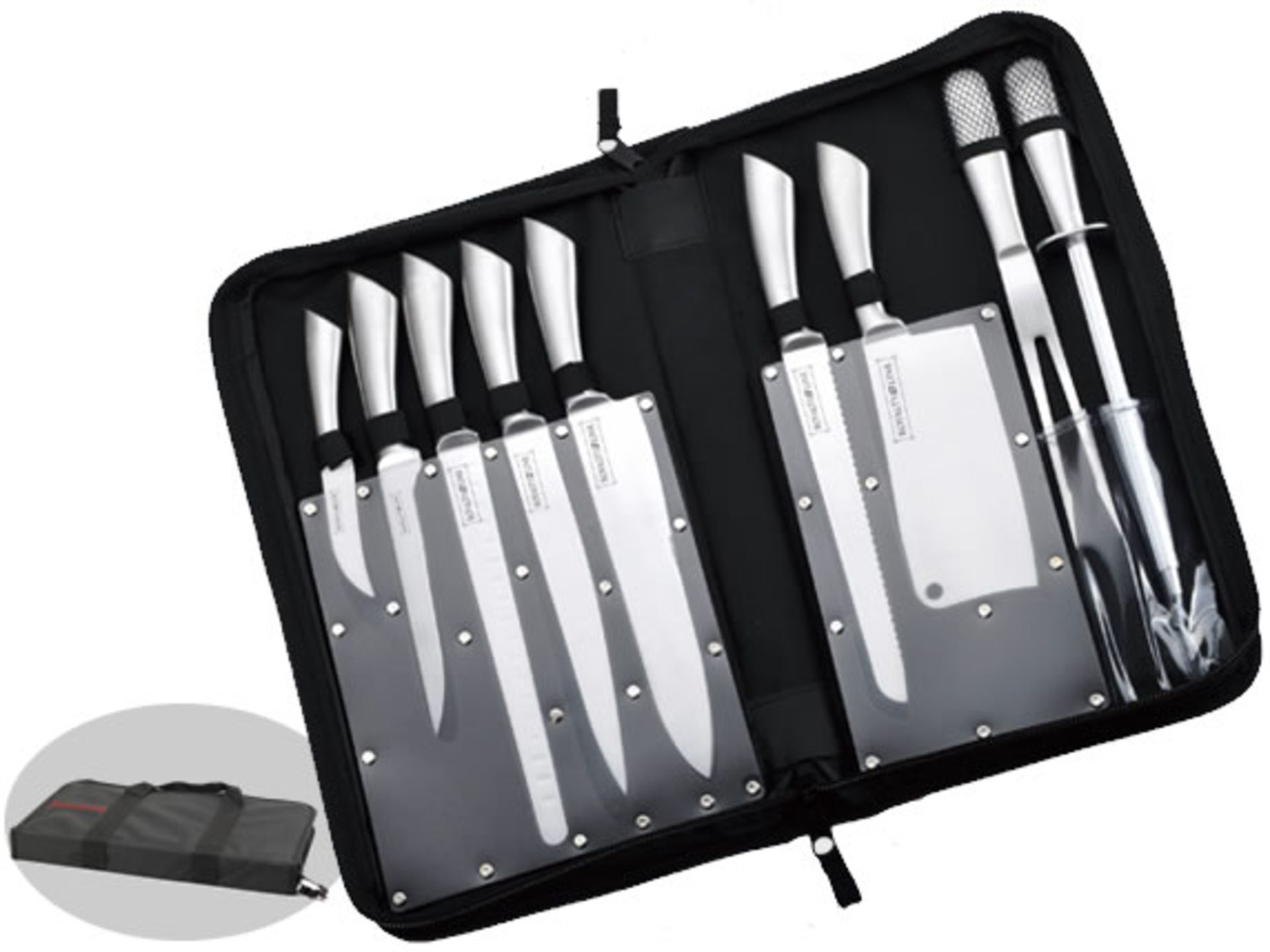 Lot 50021 - V Brand New 10pce Professional stainless steel (Chef) Knife Set In Carry Case RRP 149 Euro including