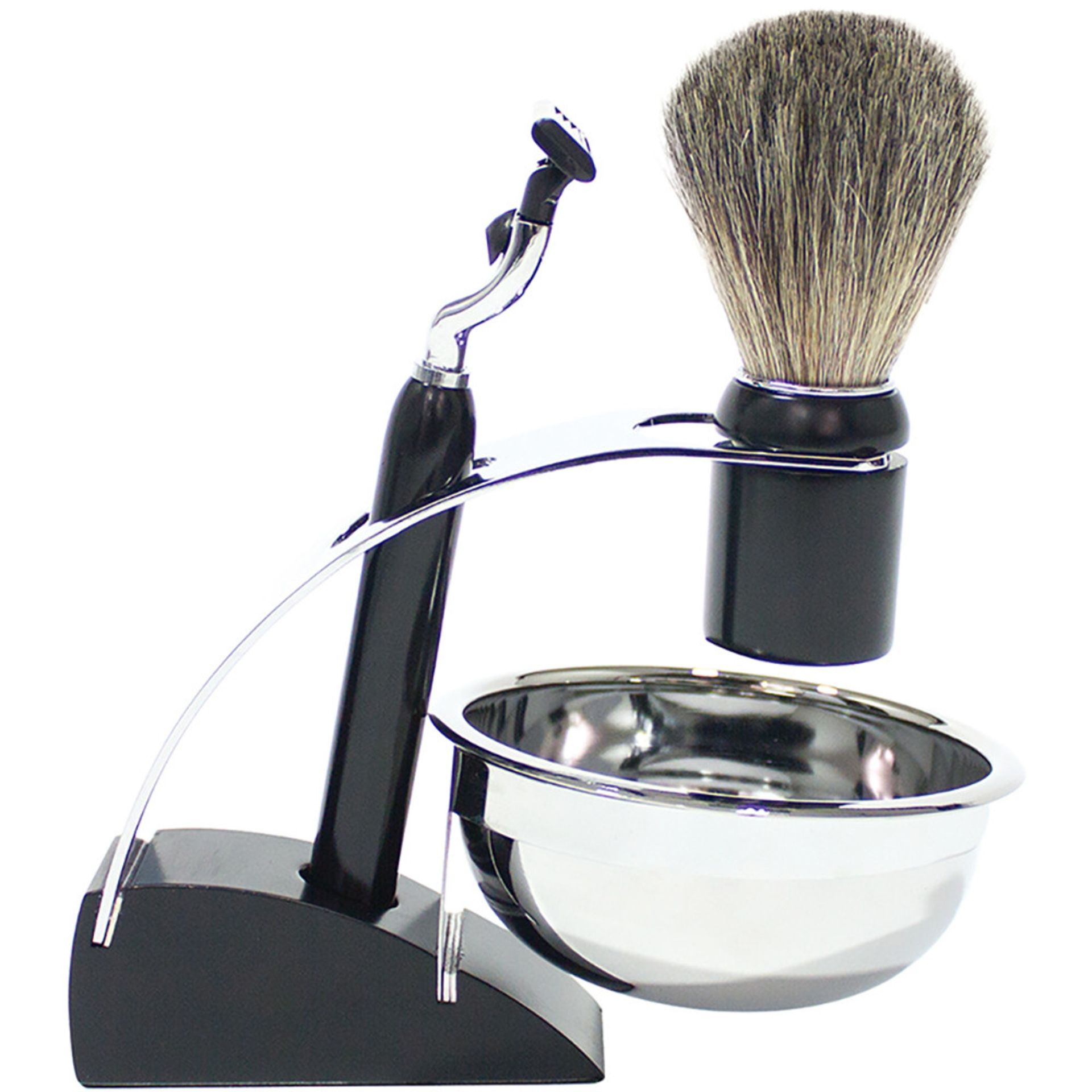 Lot 10034 - V Brand New Retro Shaving Set Includes Soft Hair Brush - Shaving Bowl - Razor With Removeable Heads