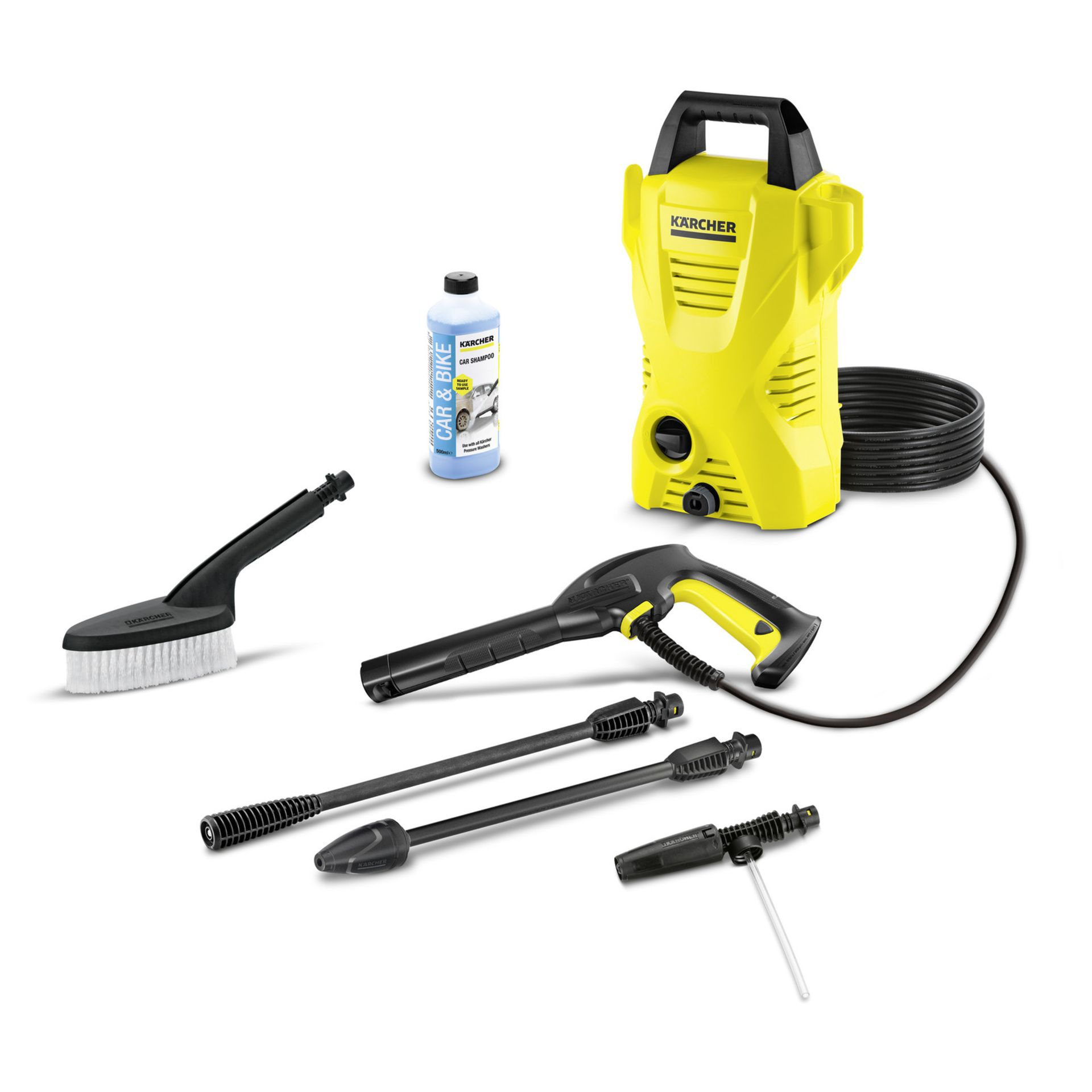 Lot 18032 - V Brand New Karcher K2 Compact Car High Pressure Cleaner With Wash Brush - Foam Nozzle & Car Shampoo