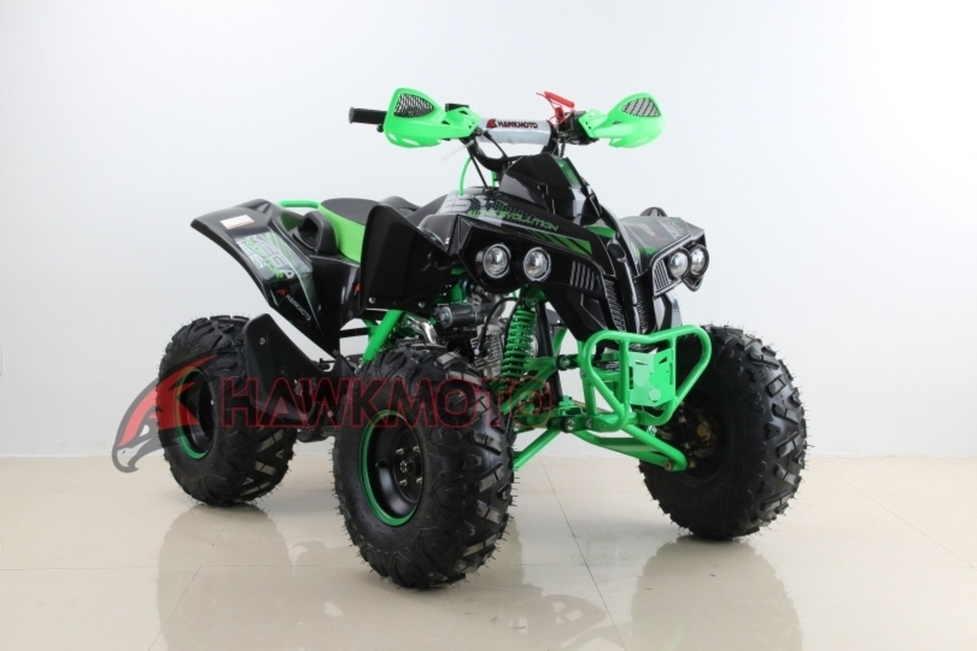 "Lot 18058 - V Brand New 125cc Mega Raptor Off Road Sports Quad Bike With ""Fat Boi"" Off Road Wheels - Electric"