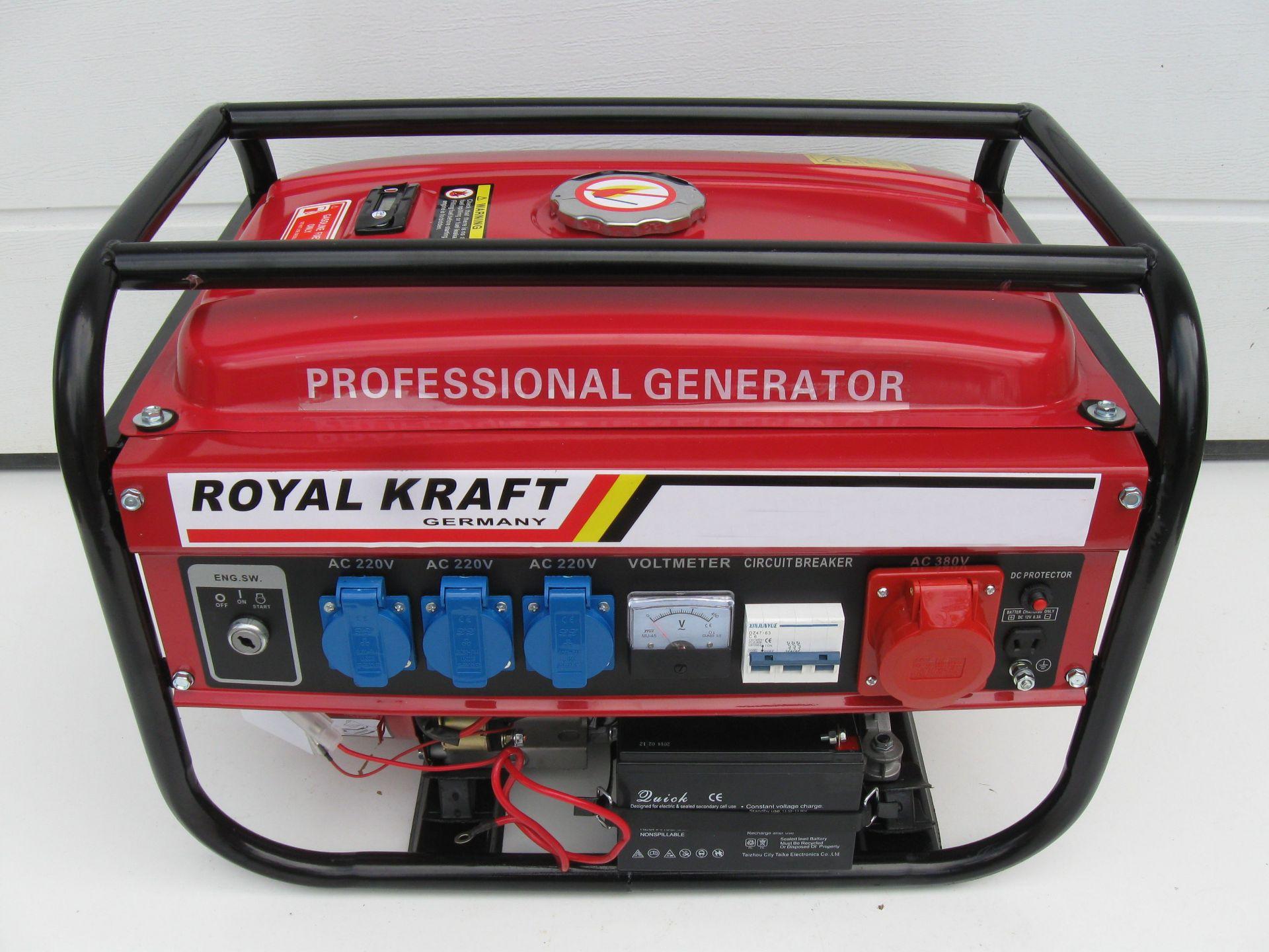 Lot 51243 - V Brand New Electric Start Generator 220V/380V 50Hz In Metal Frame 6.5HP - Approx 40KG - Available