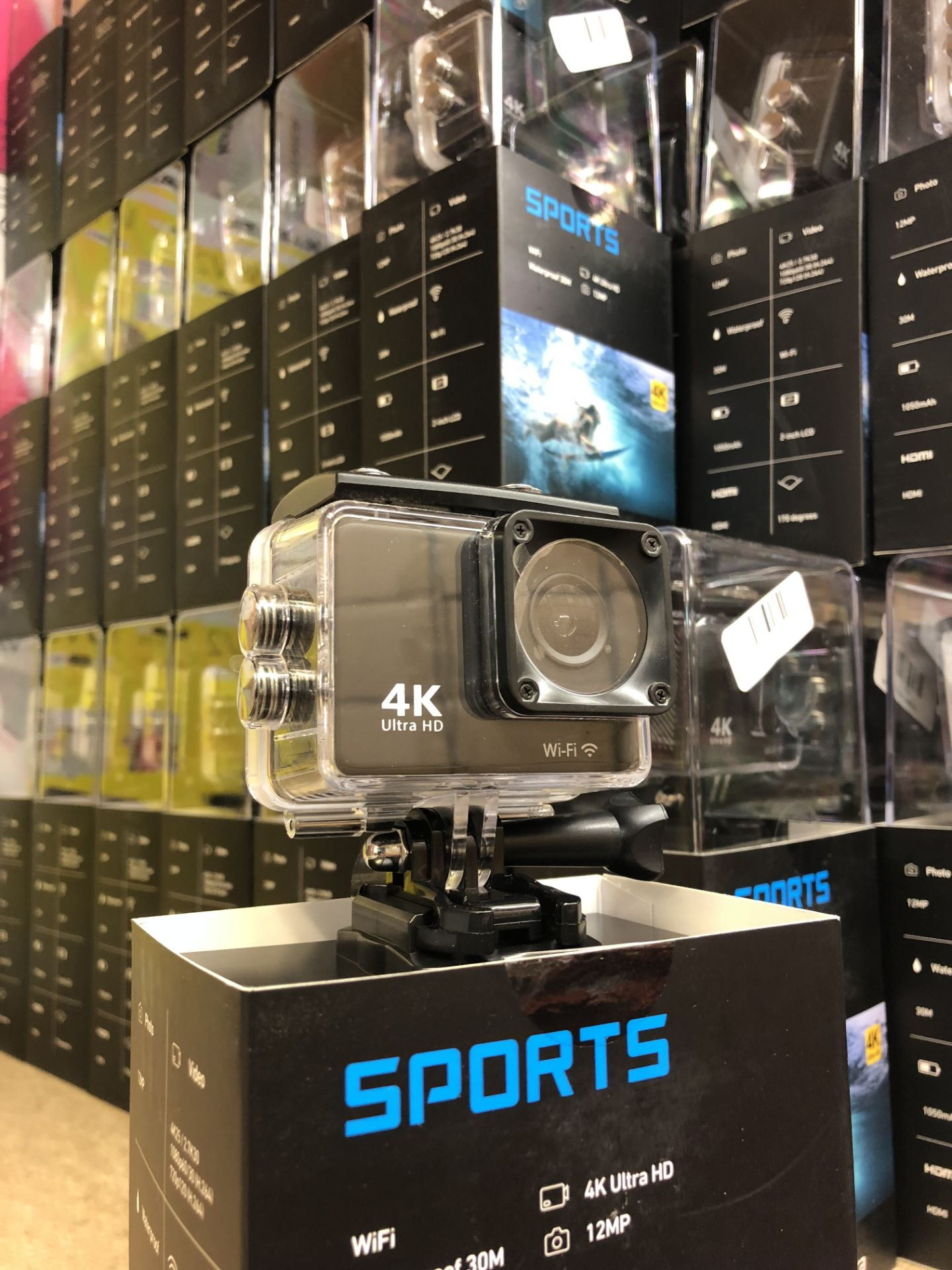 Lot 15963 - Brand New Full Ultra HD 4K Waterproof WiFi Action Camera With Audio - Box And Accessories - 30m