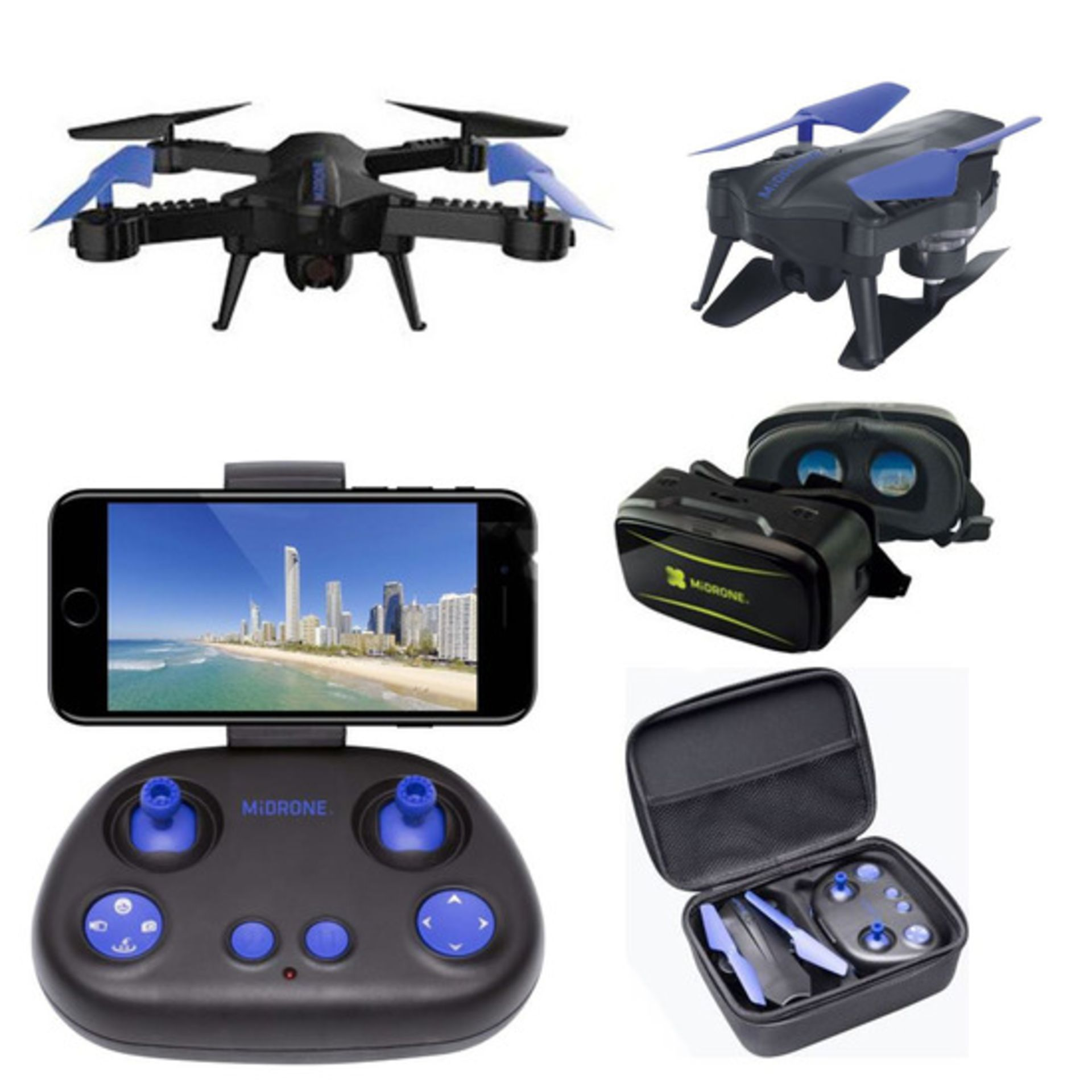 Lot 15788 - V Brand New MiDrone HD WiFi Drone With Intergrated Full HD Camera PLUS VR Kit (Goggles & Case) -