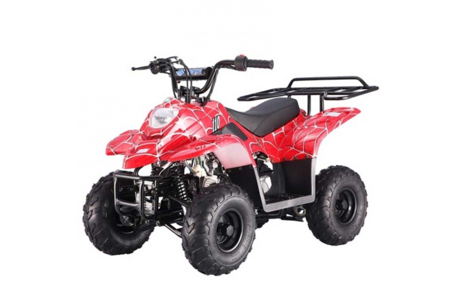 Lot 30080 - V Brand New 110cc Boulder Petrol Quad Bike - Rear Frame - Electric Start - 4 Stroke Automatic -