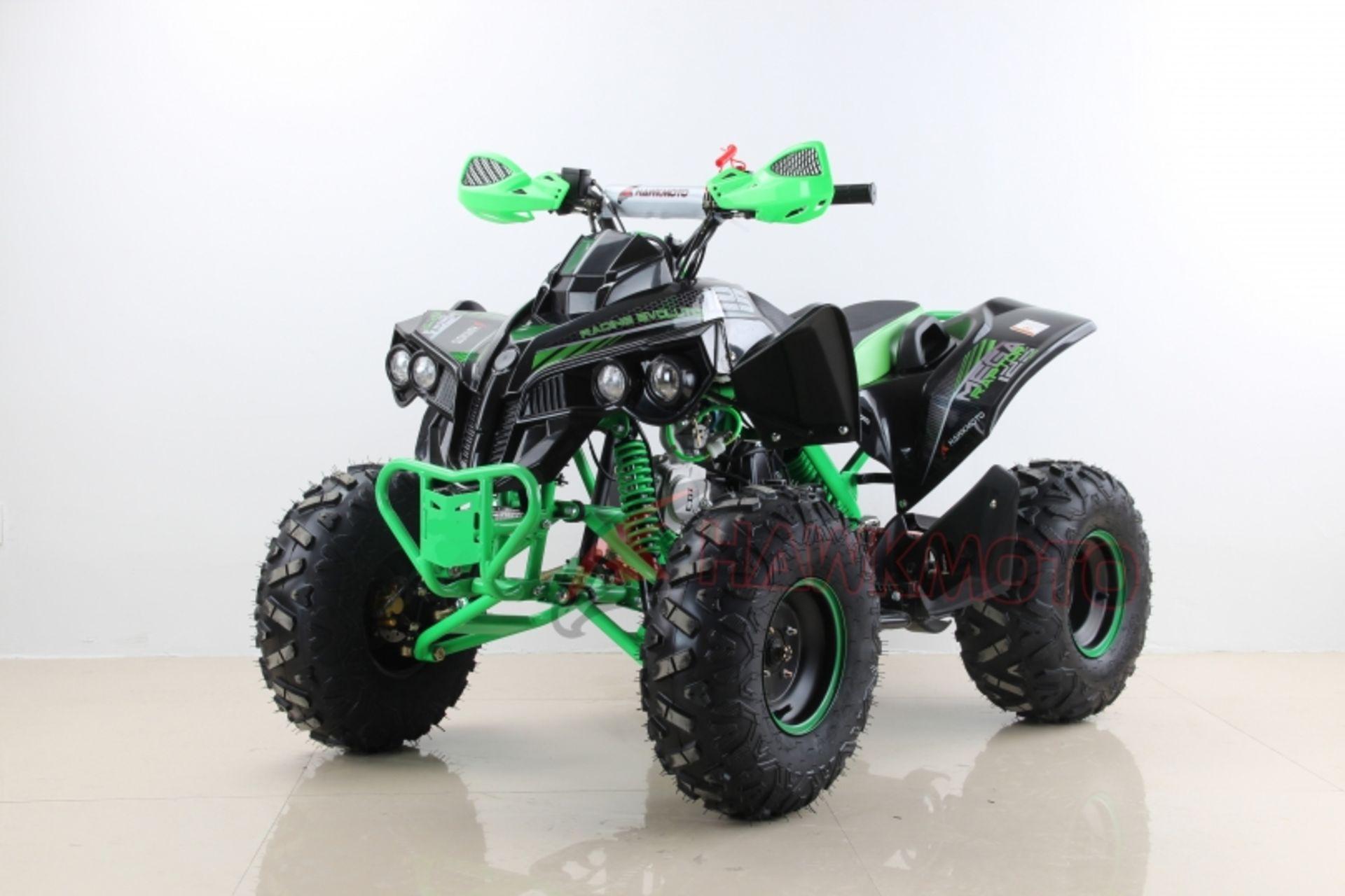 "Lot 23018 - V Brand New 125cc Mega Raptor Off Road Sports Quad Bike With ""Fat Boi"" Off Road Wheels - Electric"