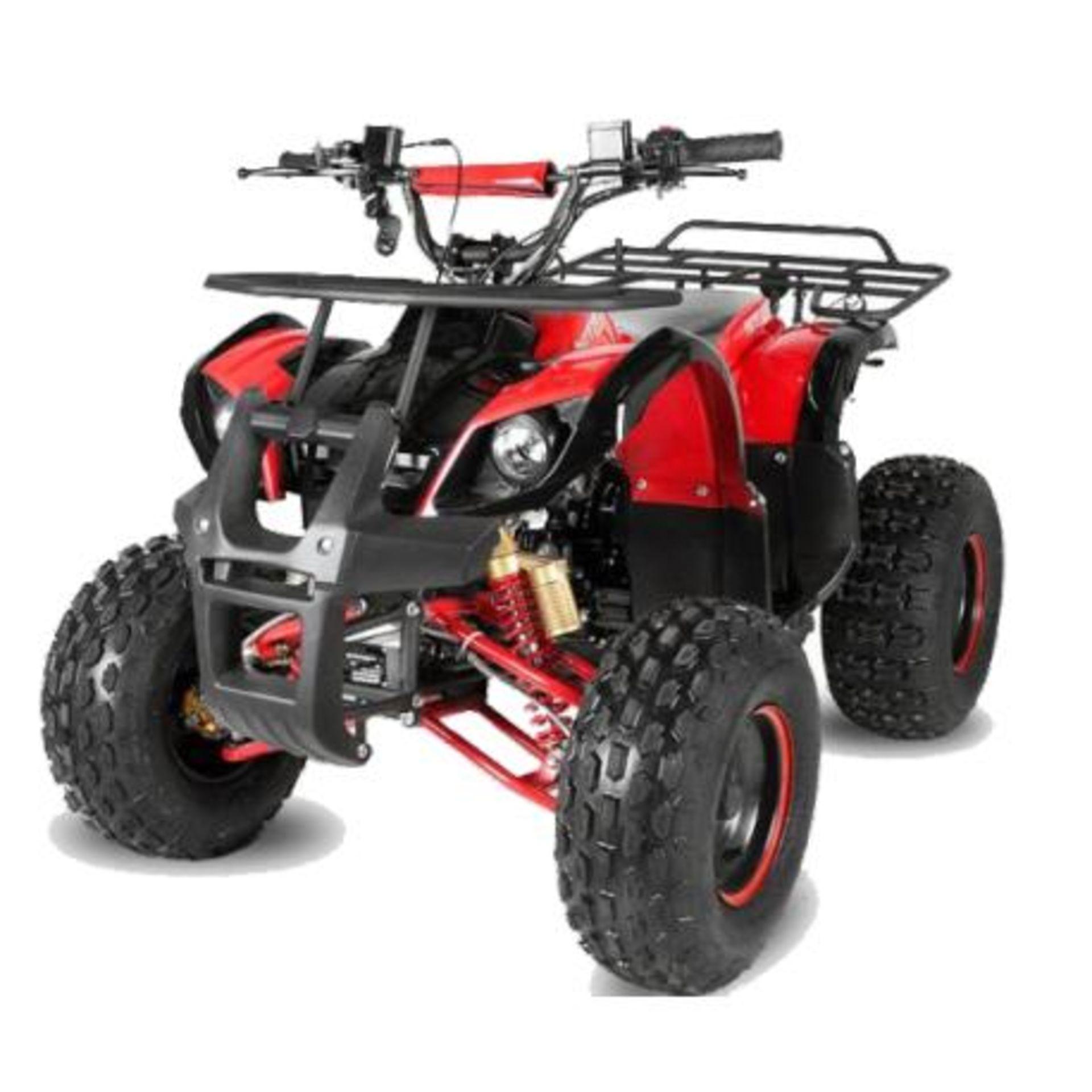 "Lot 23019 - V Brand New 125cc Mega Raptor Off Road Sports Quad Bike With ""Fat Boi"" Off Road Wheels - Electric"