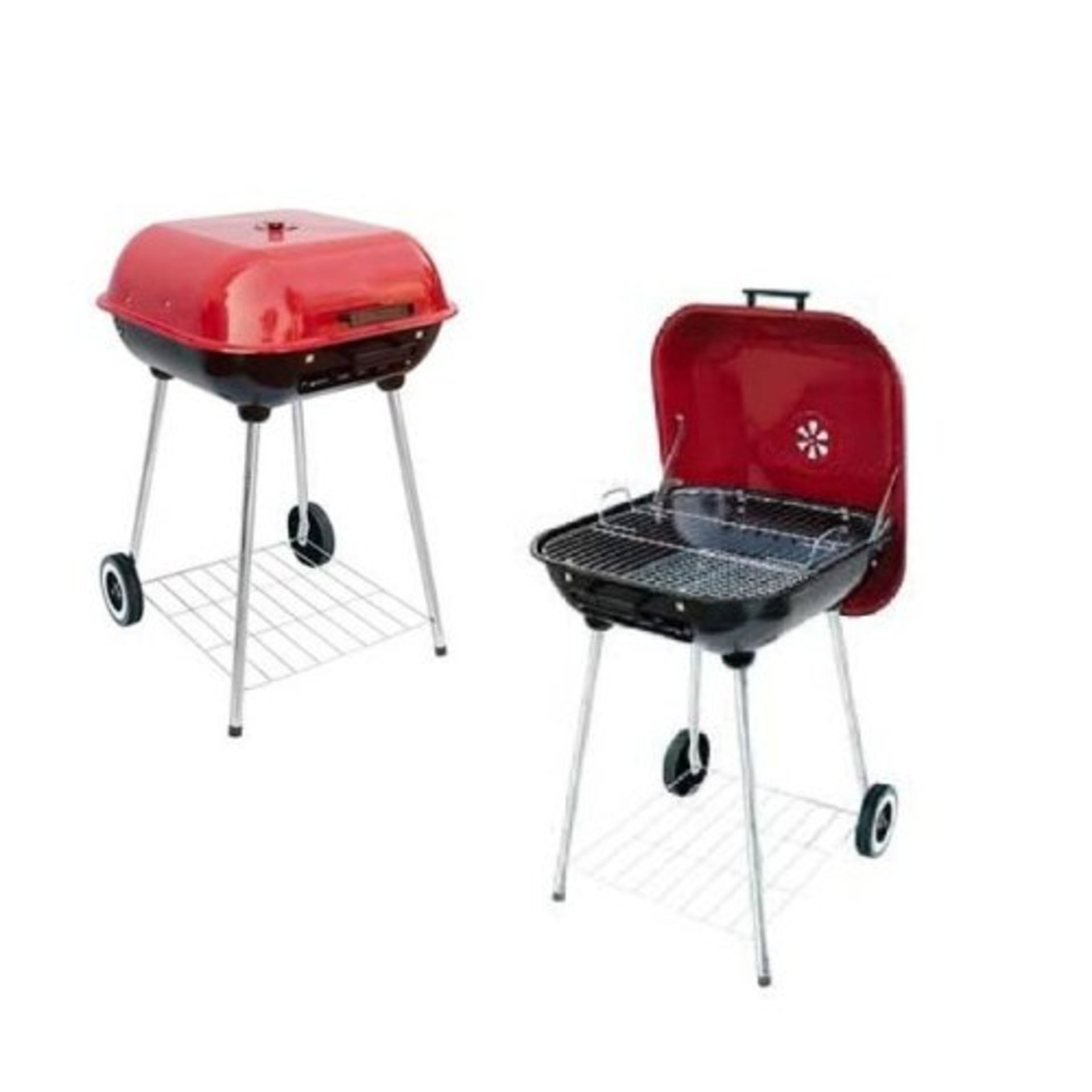 Lot 31891 - V Brand New Mastercook 54cm Stainless Steel Charcoal Barbecue With Red Top