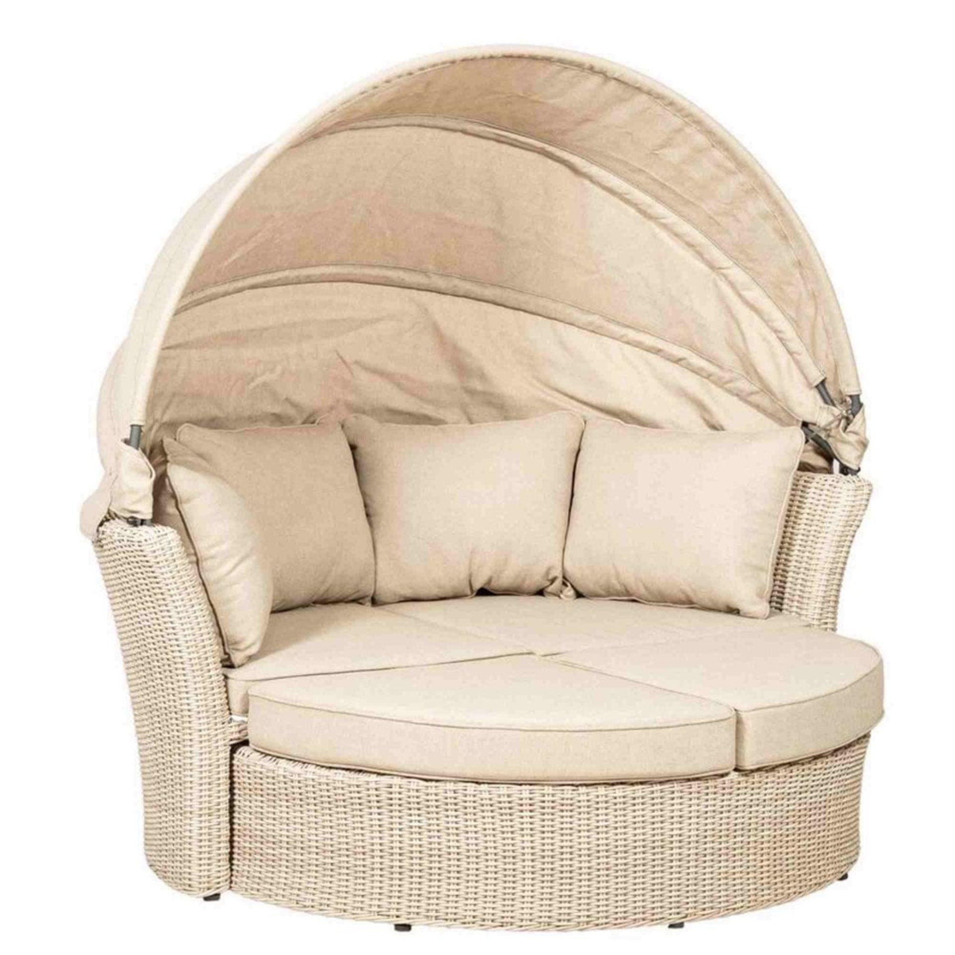 """Lot 32045 - V Brand New Luxury Circular Day Bed With Retractable """"Half Moon"""" Canopy & Weather Proof All Year"""